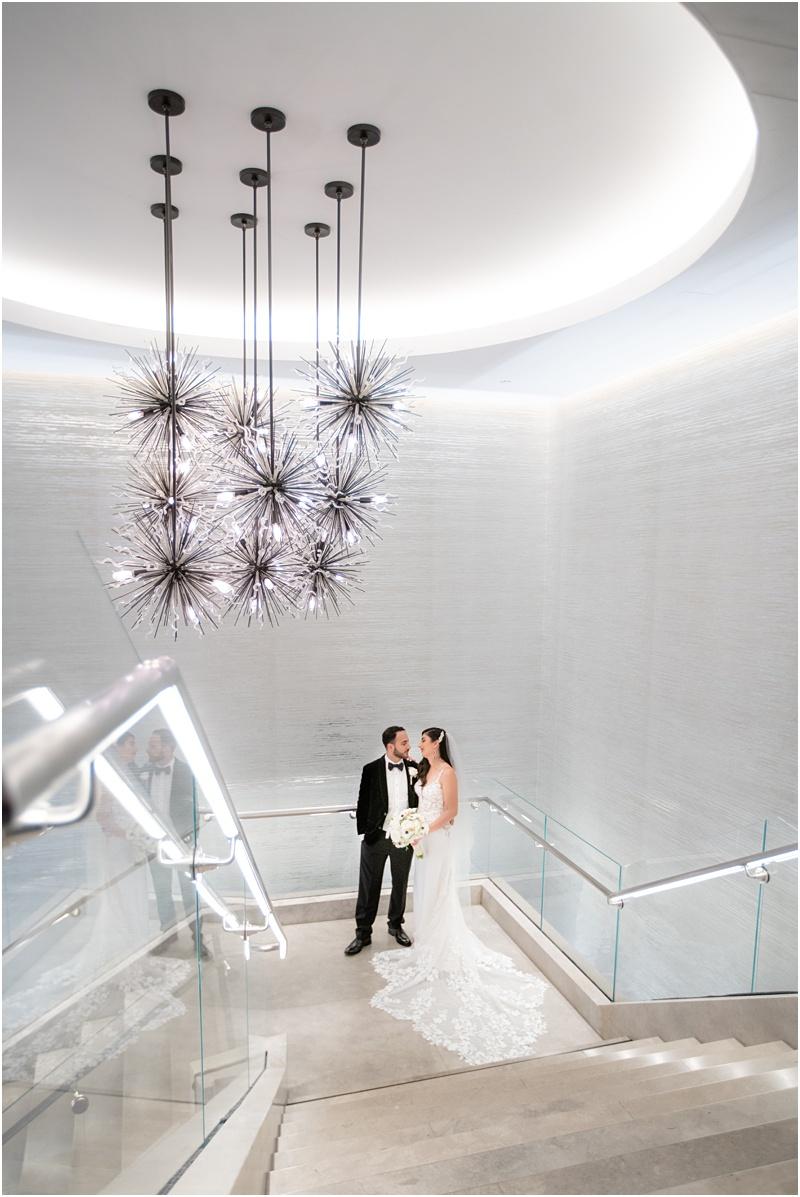 stairway and chandelier waterfront beach resort huntington beach wedding