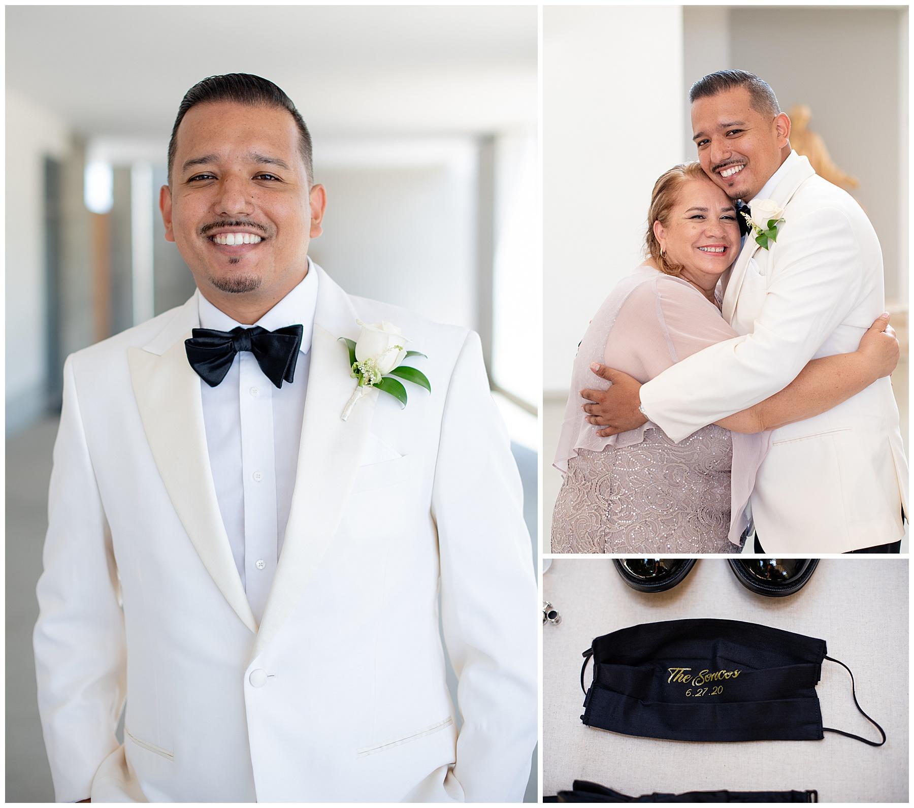 groom white jacket black pants