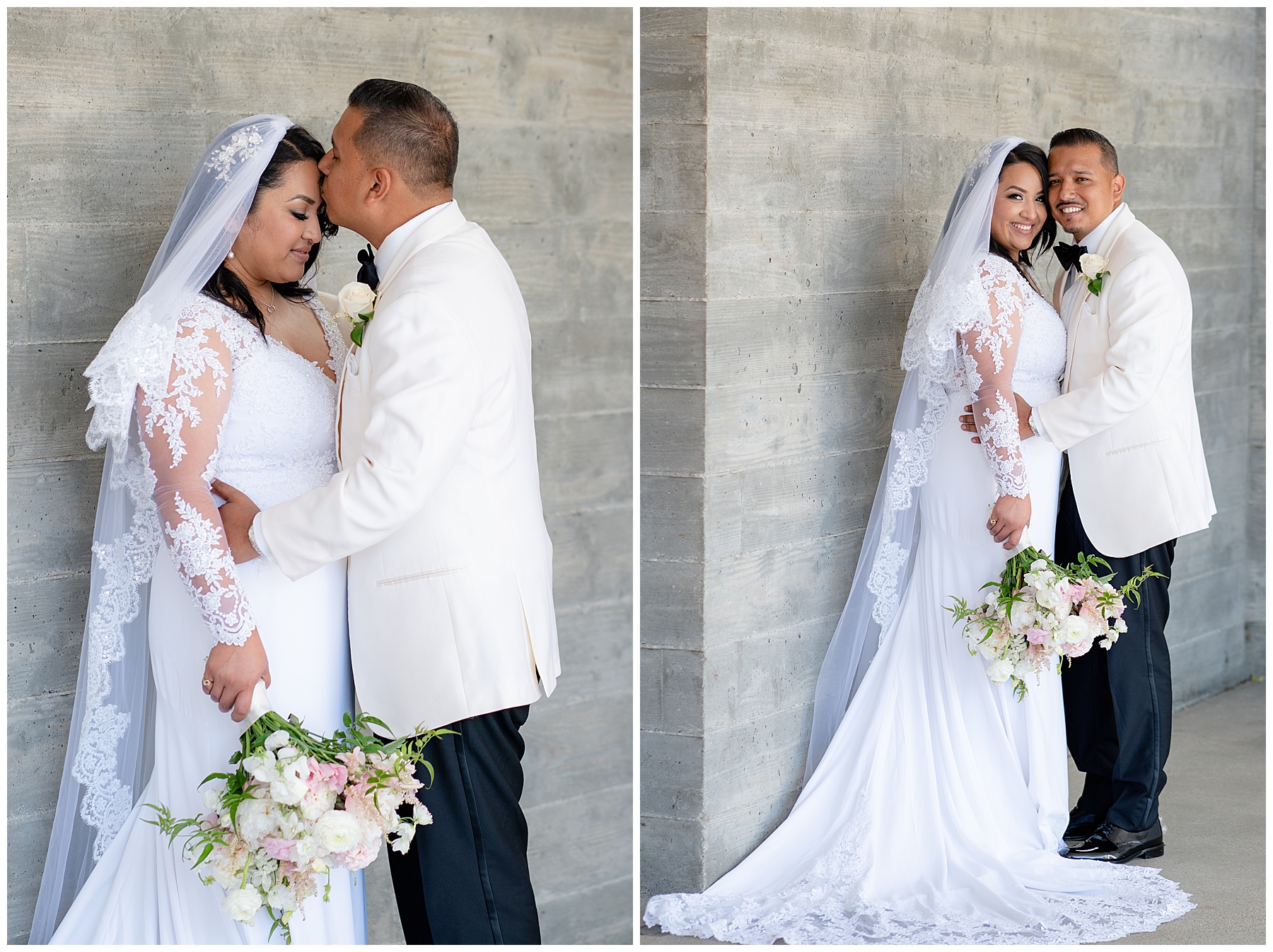 bride and groom against a concrete wall