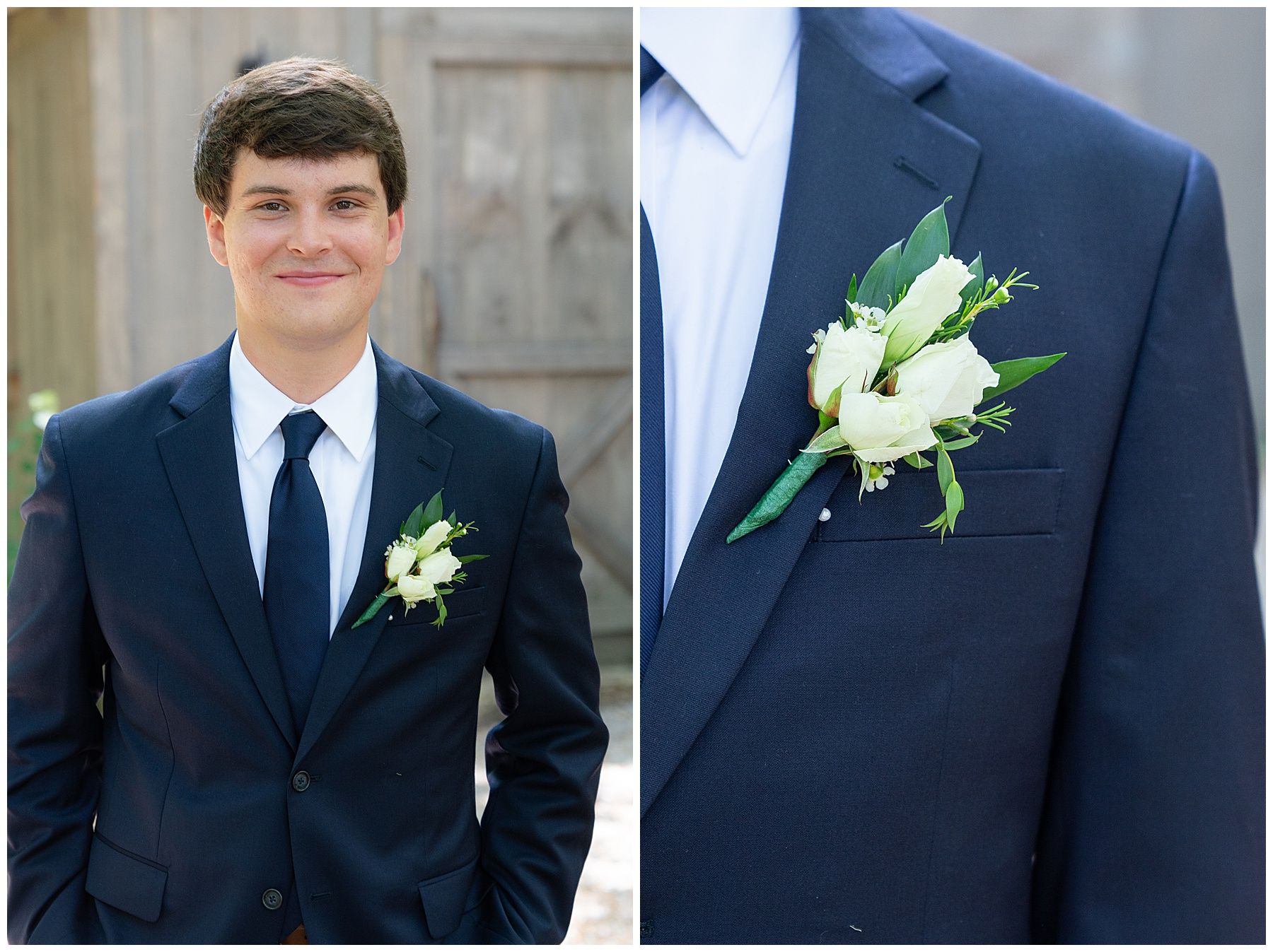 groom with simple white boutonnière