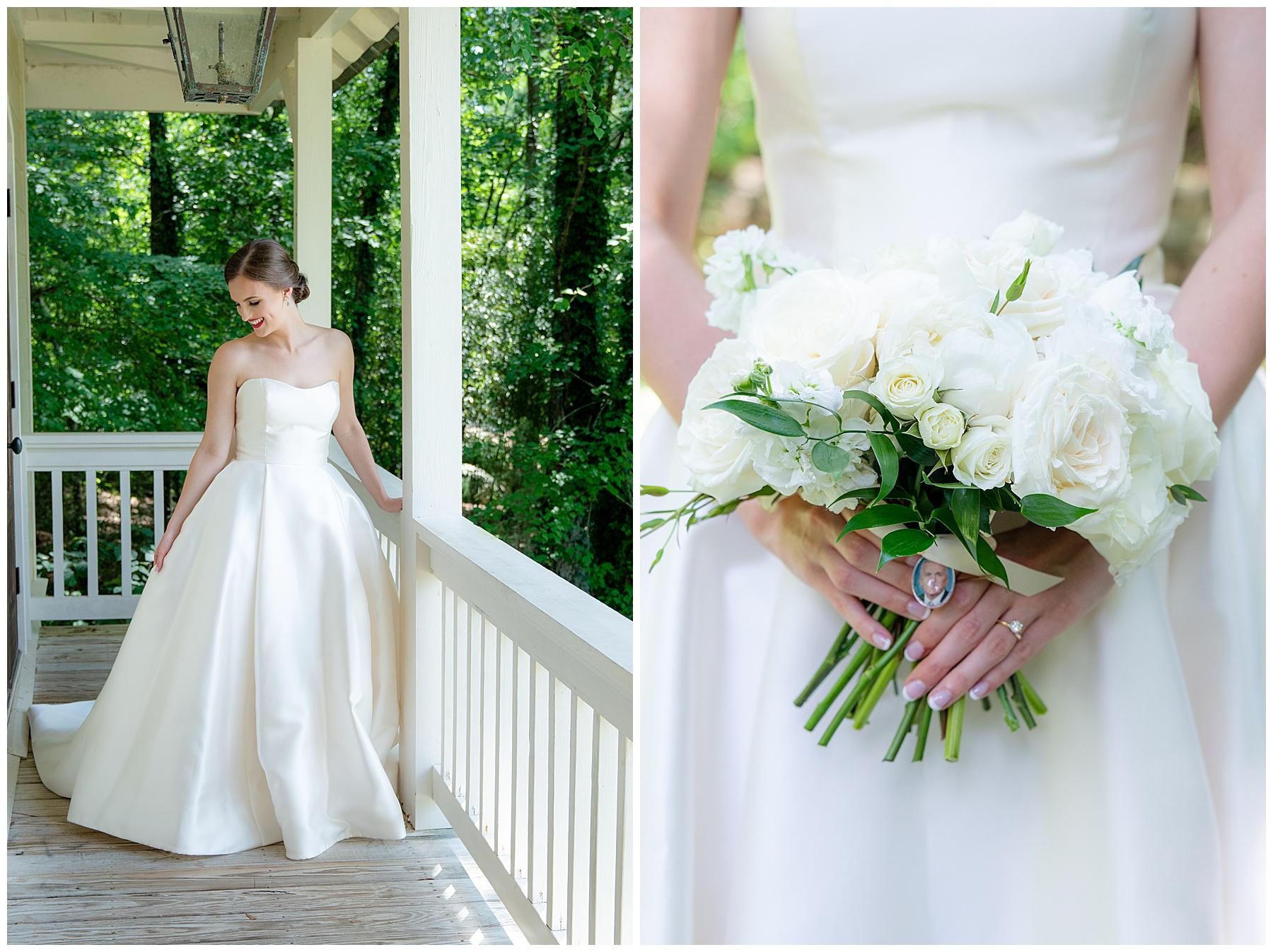 bride on porch alabama wedding