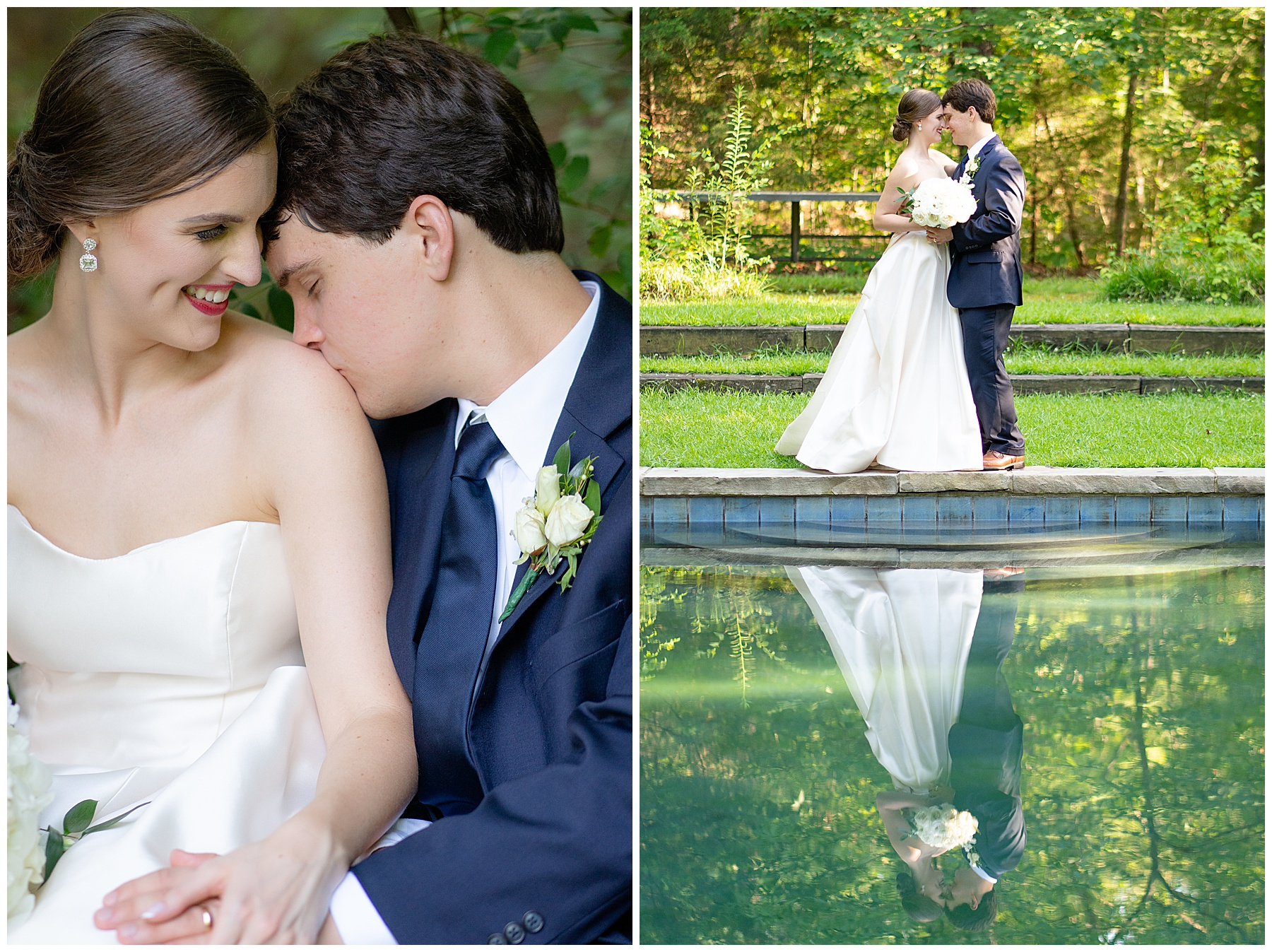 bride and groom reflection on water j&d farms wedding