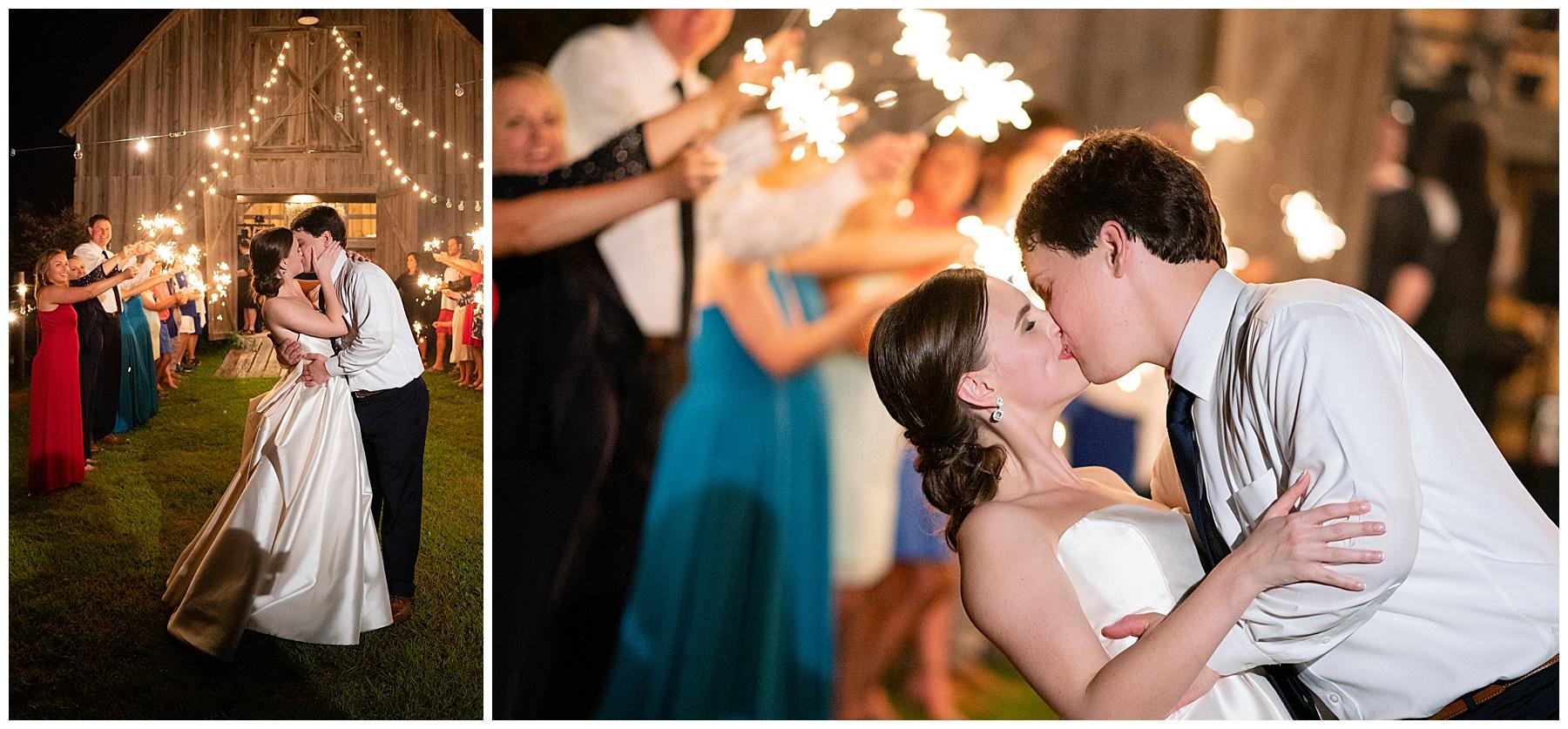sparkler exit j&d farms wedding
