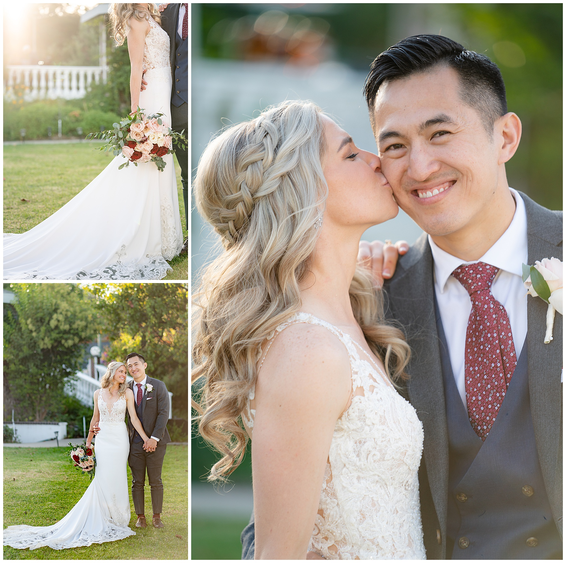 bride kisses grooms cheak