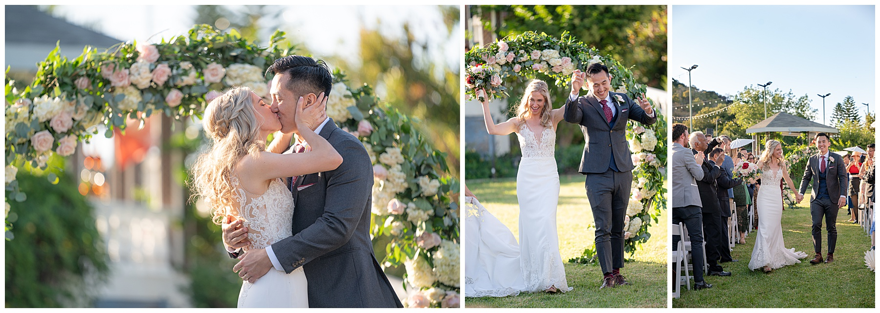 bride and groom kiss under arch
