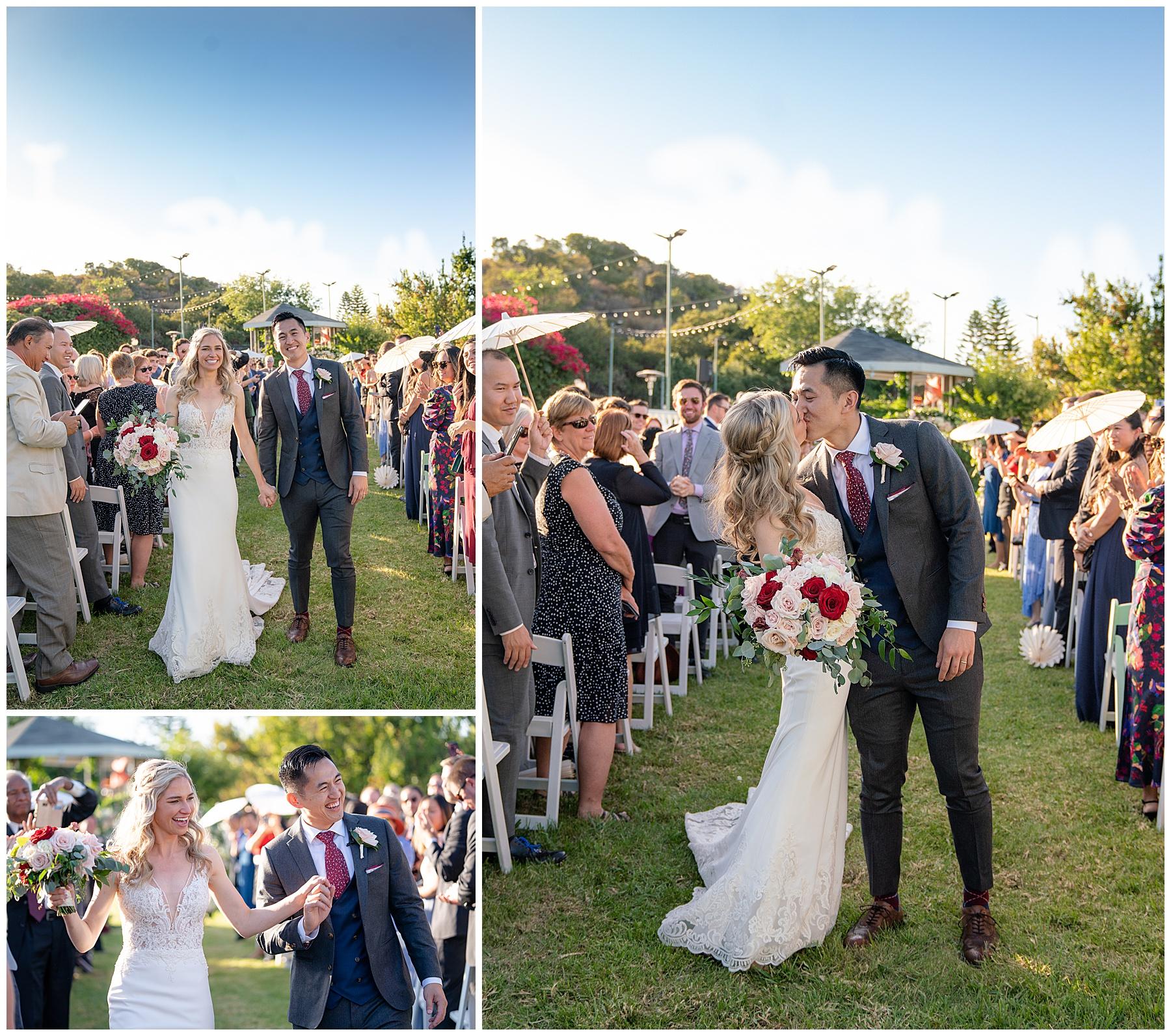 backyard ceremony kiss