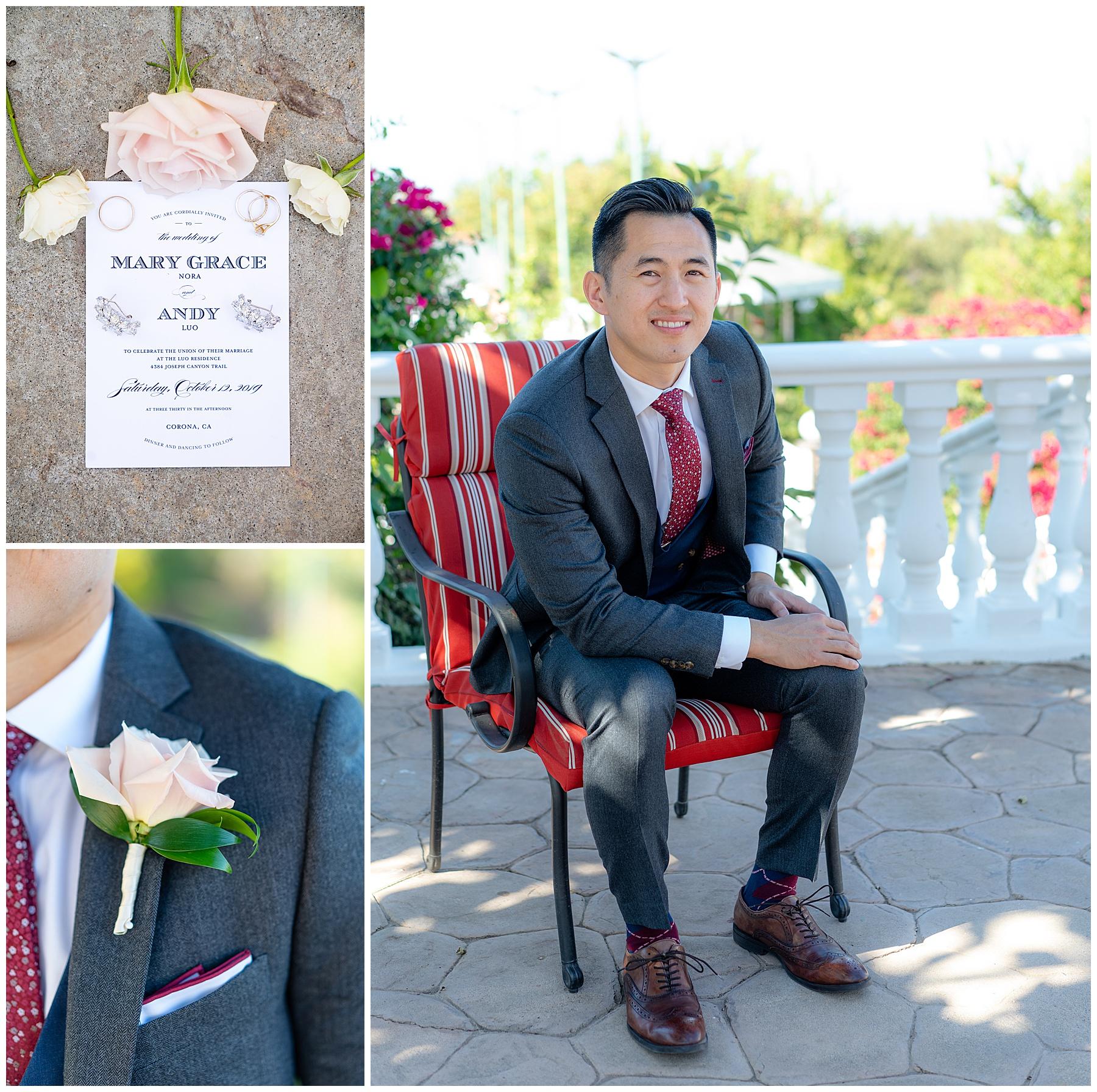 groom in burgundy tie and vest