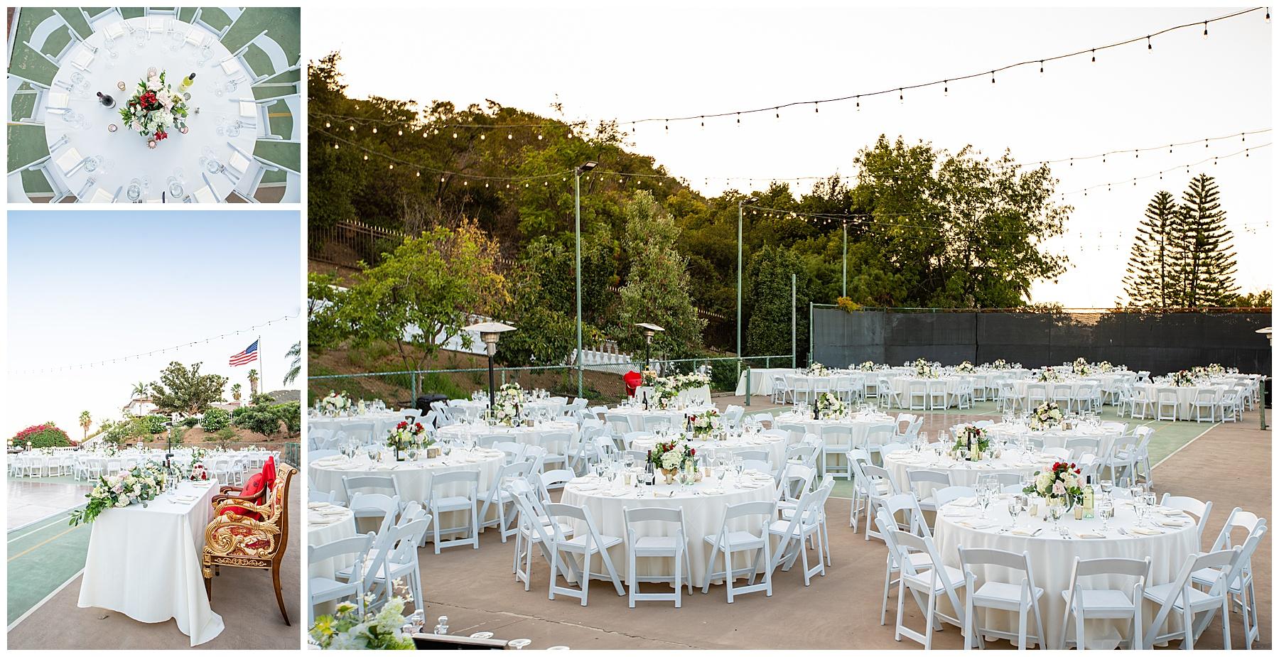 backyard reception on tennis courts