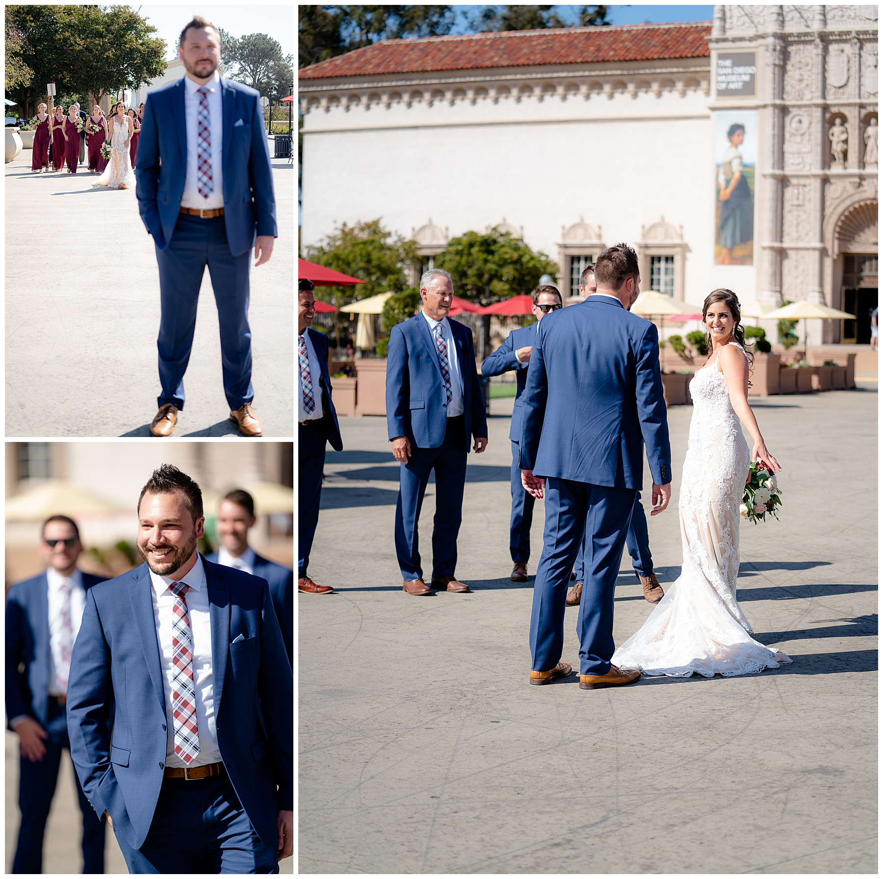 bride and groom first look wedding photos at balboa park