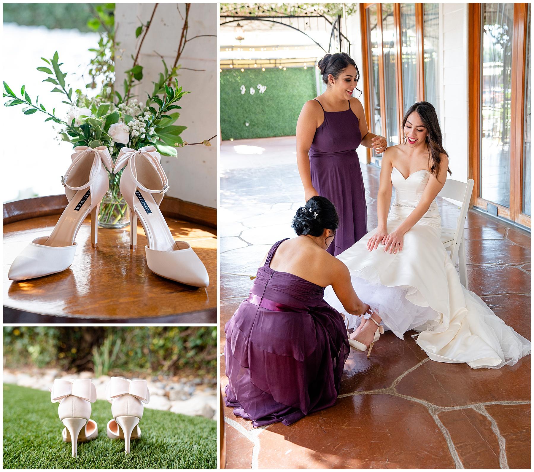 purple bridesmaids dresses calamigos equestrian center wedding