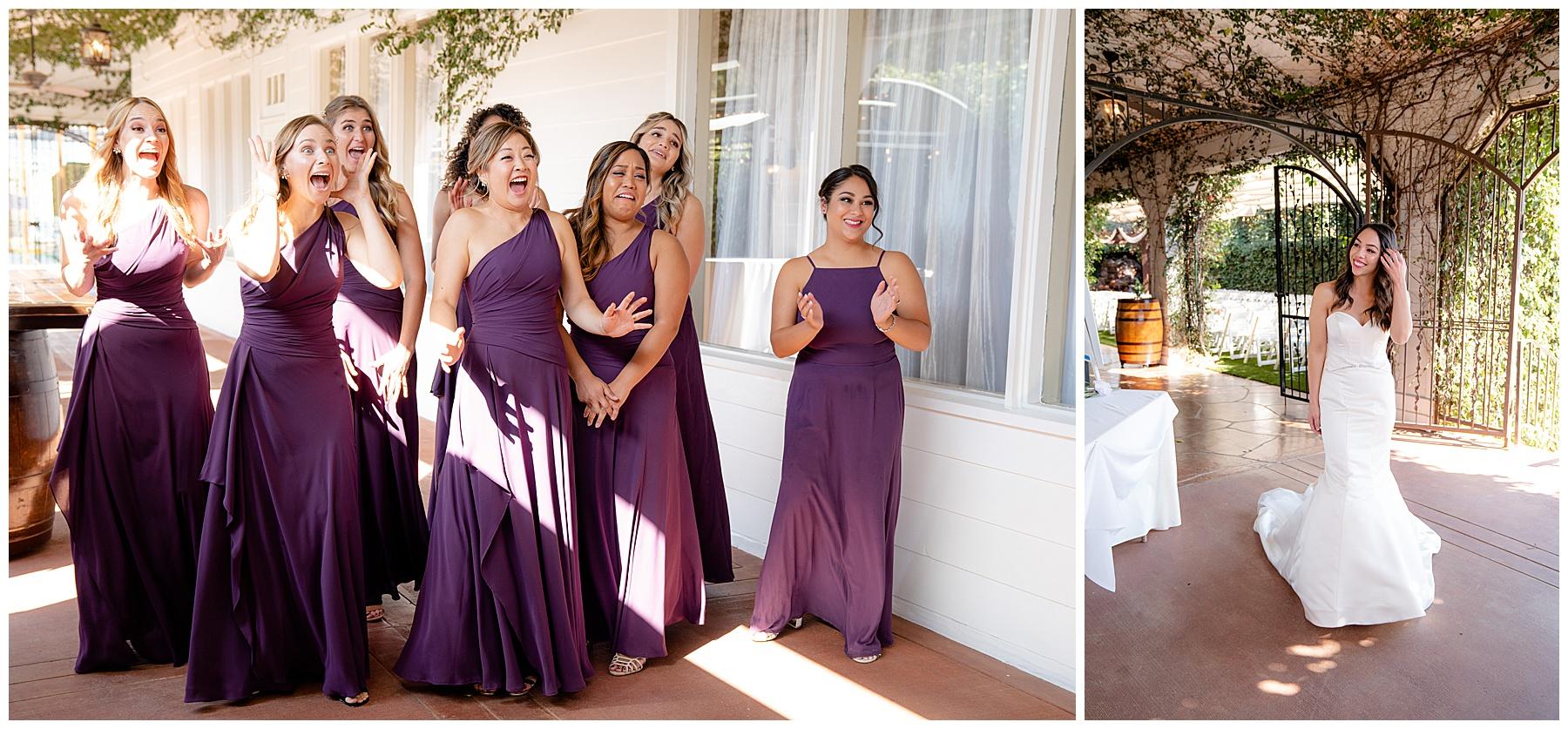 bridesmaids first look calamigos equestrian center wedding
