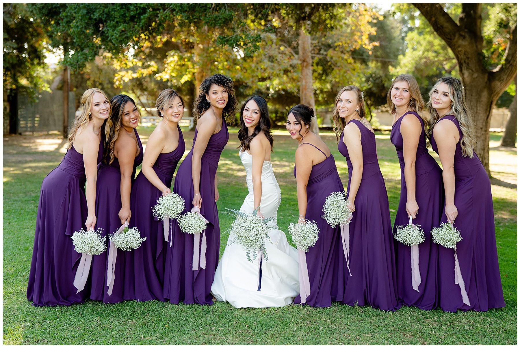 bridal party purple dresses