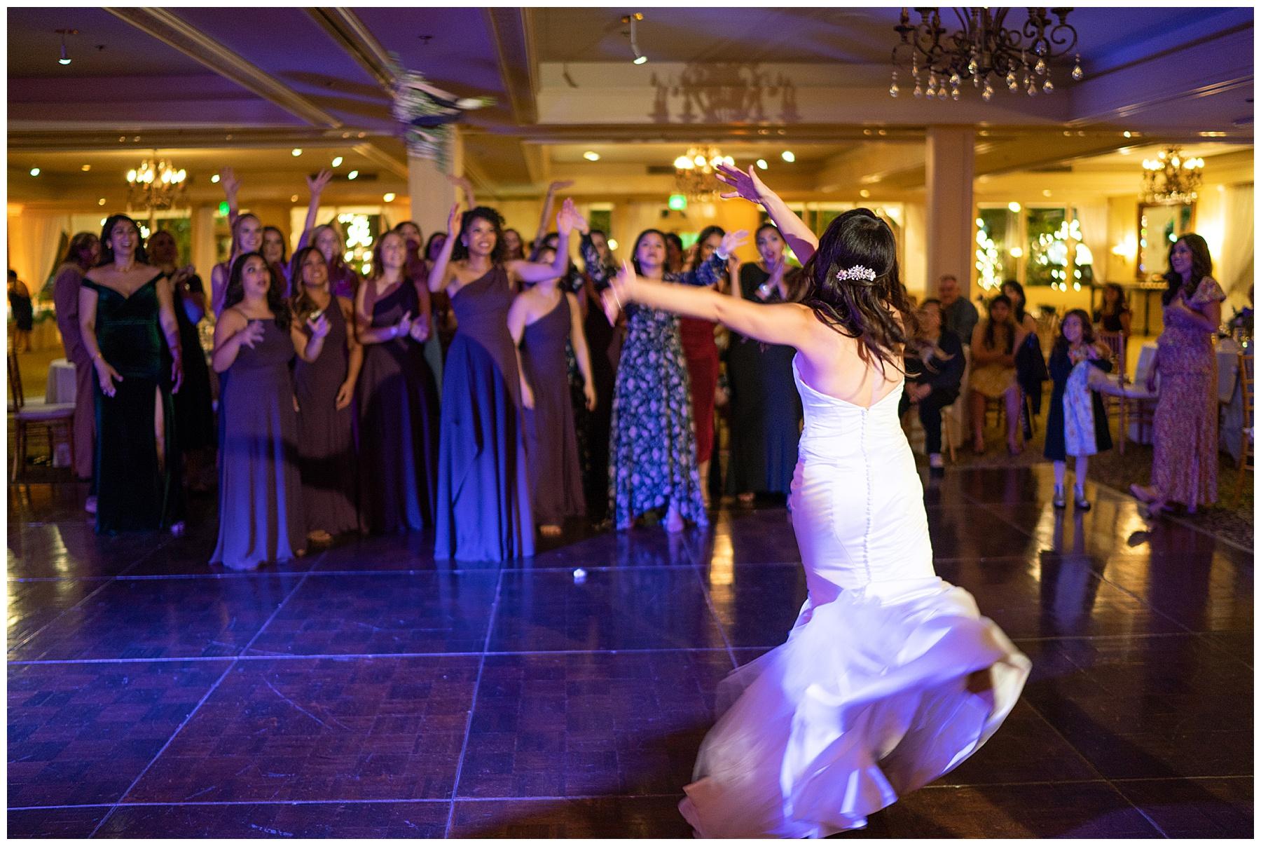 bouquet toss calamigos equestrian center wedding
