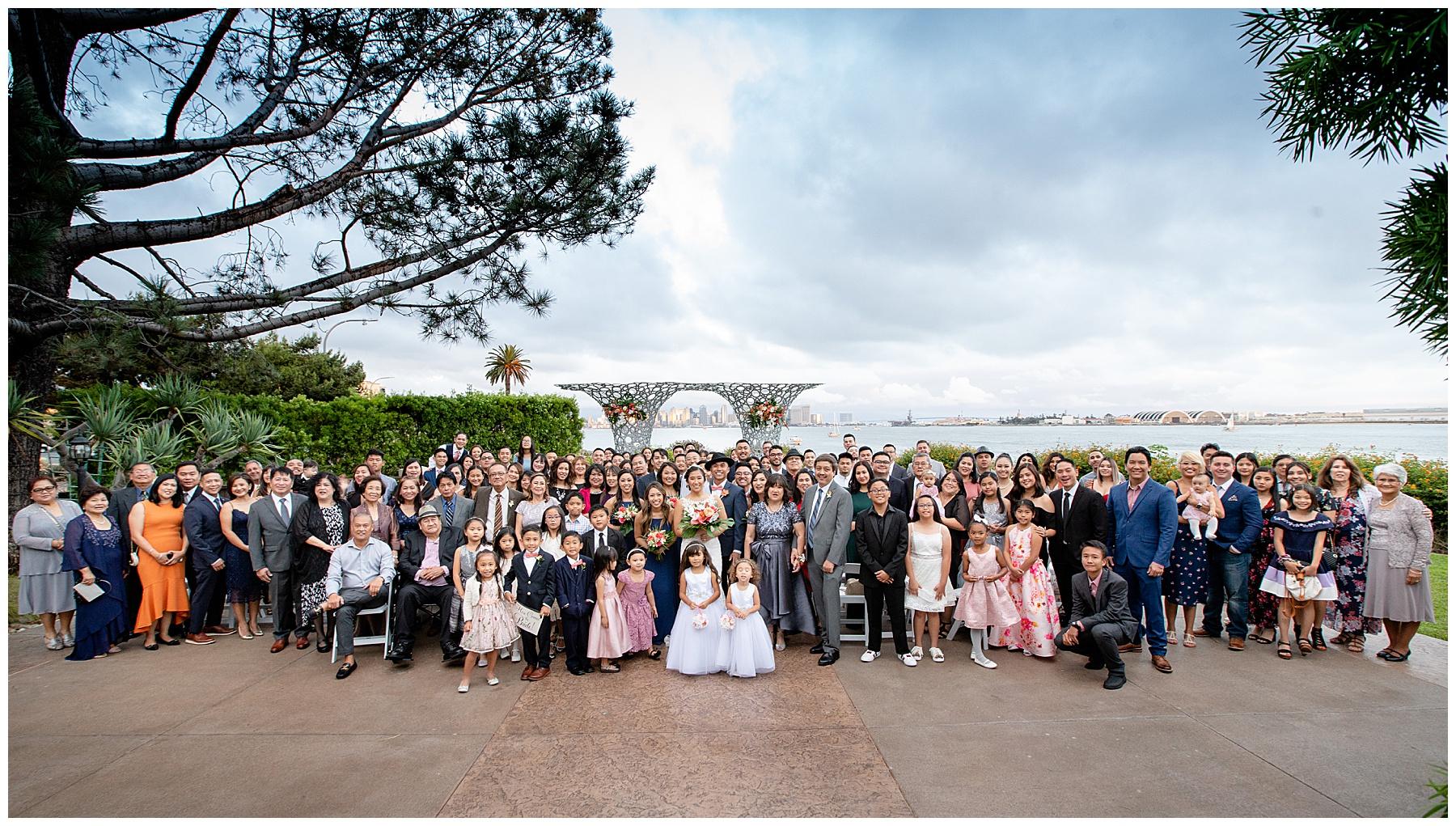 large wedding group photo tom ham's lighthouse wedding