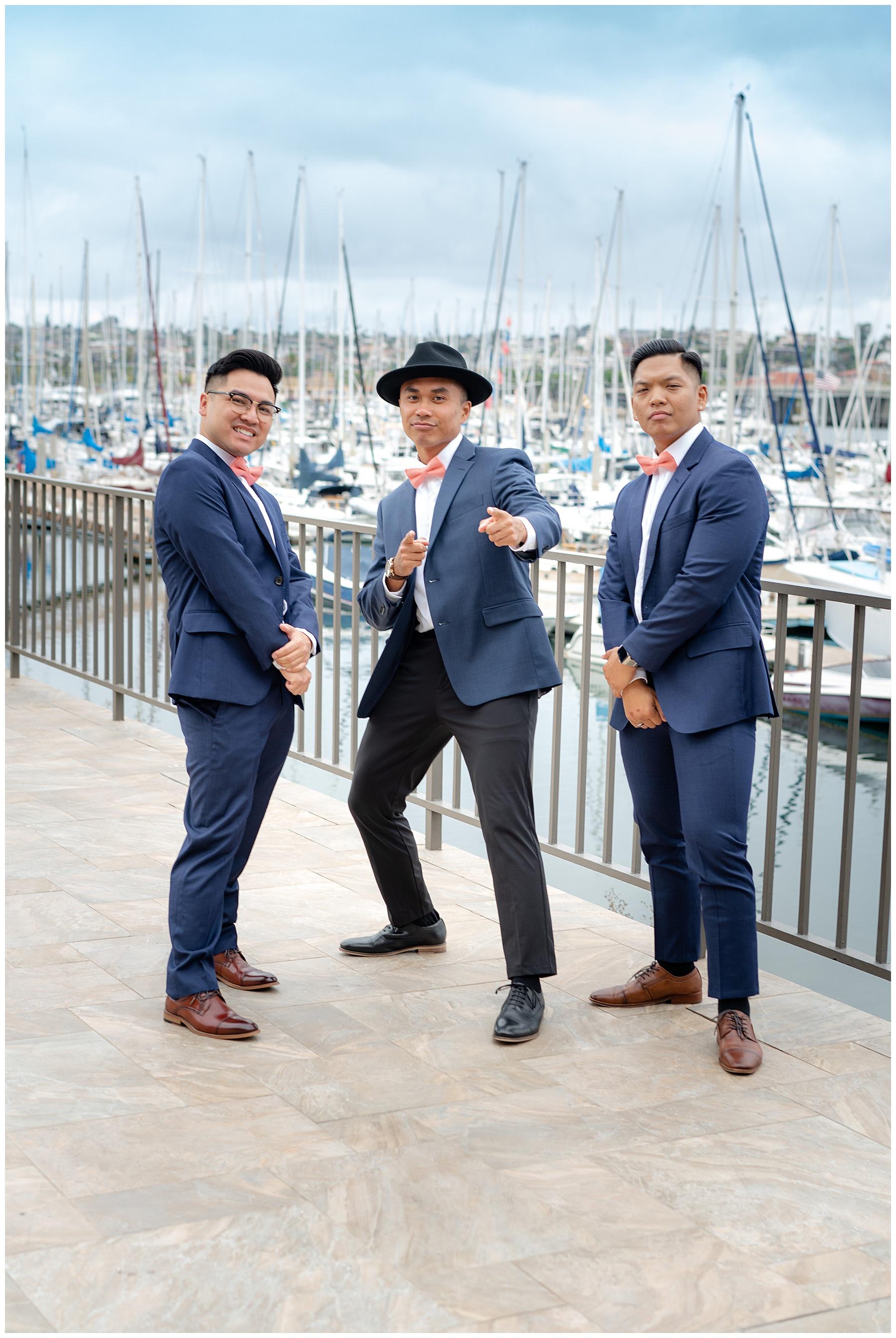 groomsmen by the sea