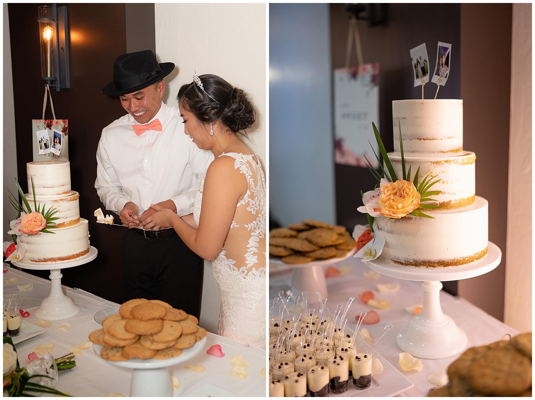 tom ham's lighthouse wedding cake cutting