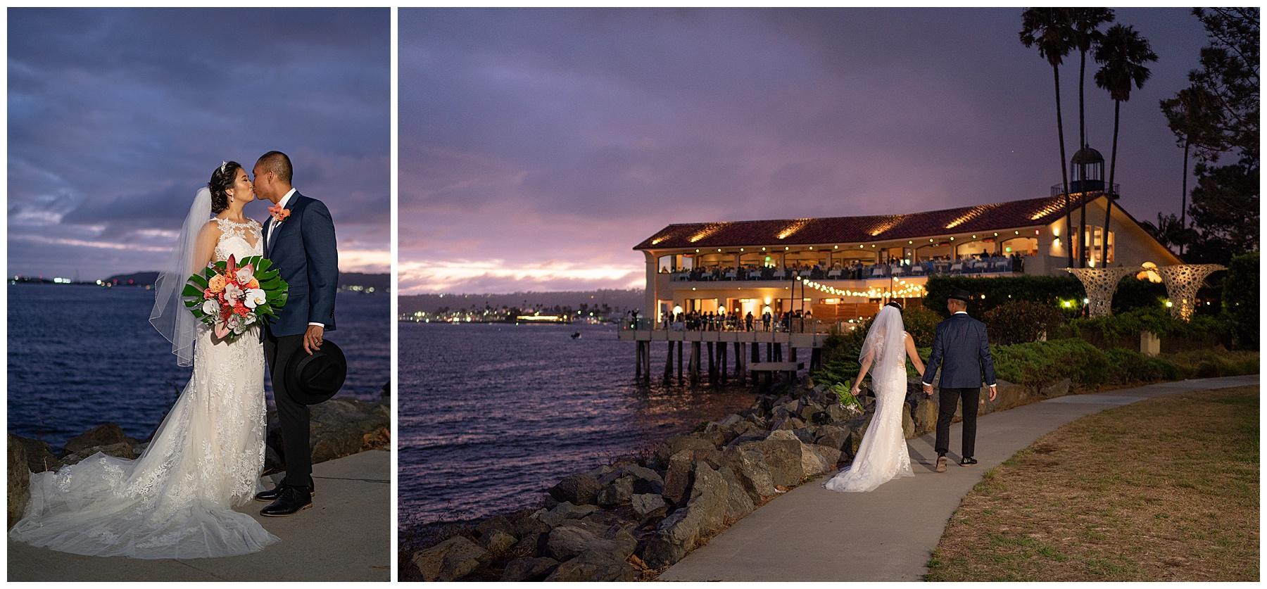 tom ham's lighthouse wedding sunset