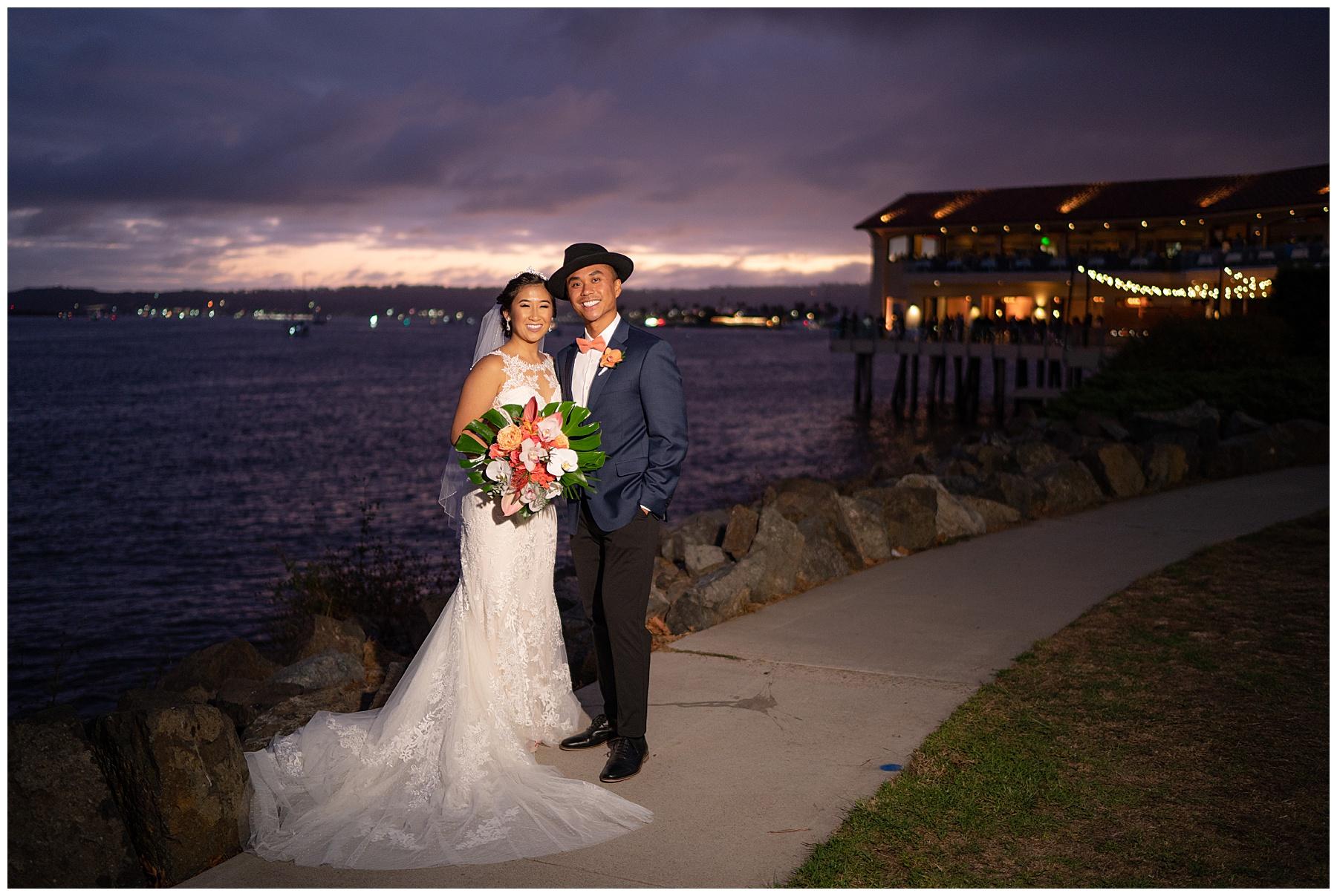 tom ham's lighthouse wedding sunset photo