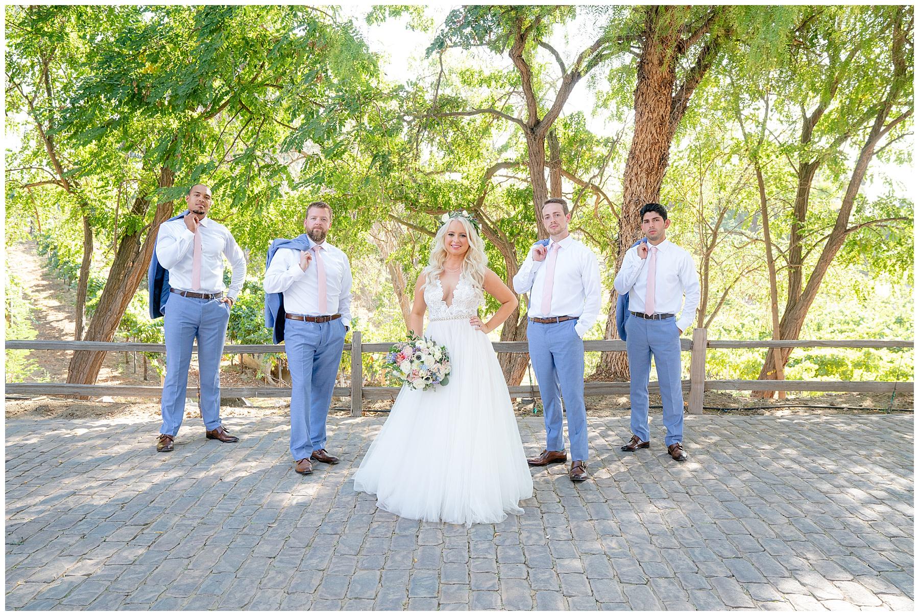 temecula winery wedding  bride and groomsmen