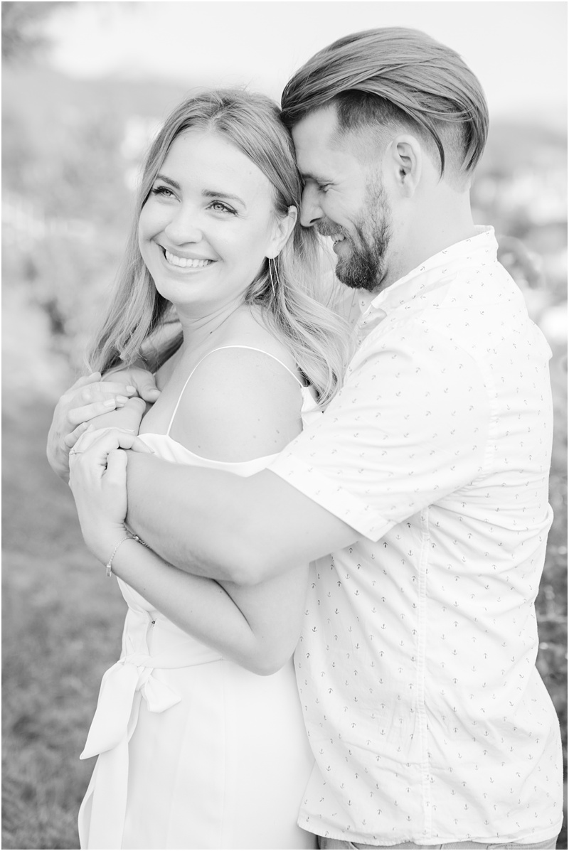backyard engagement party portrait
