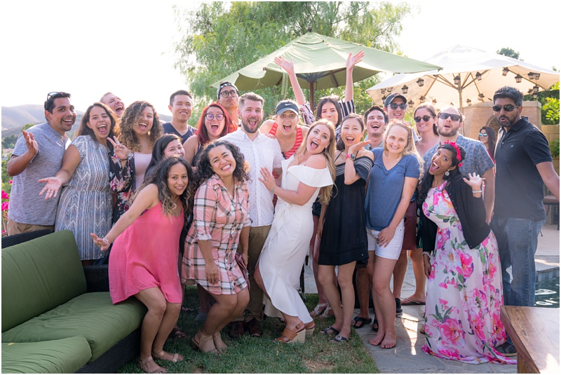 backyard engagement party group photo