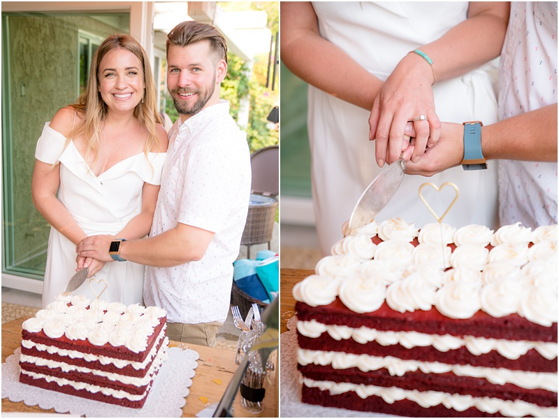 backyard engagement party cake cutting