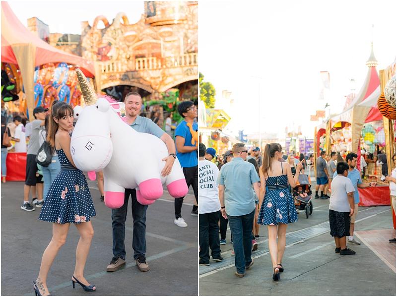 huge stuffed unicorn carried by bride and groom