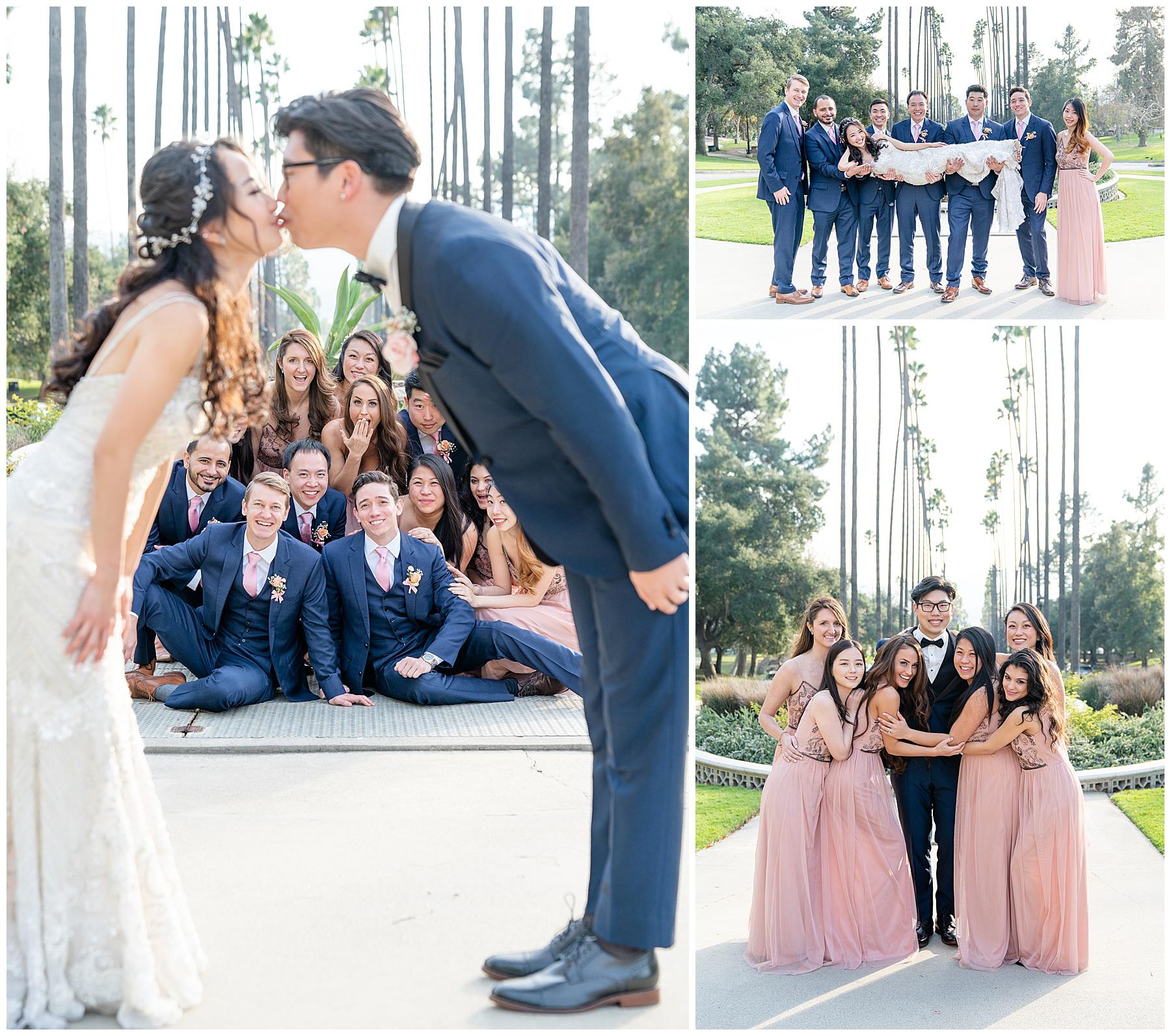 brand park fun wedding party photos
