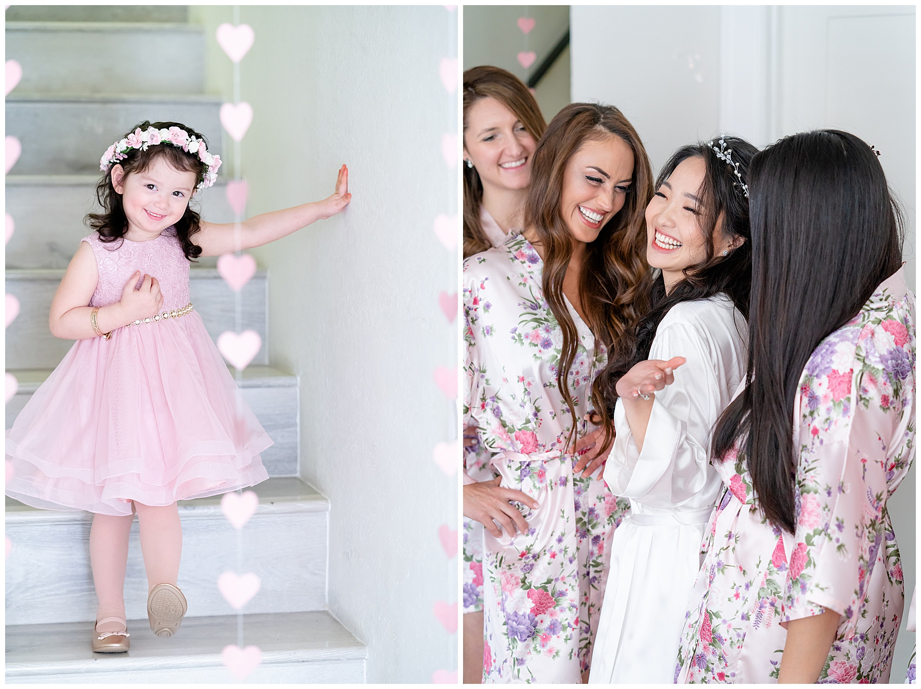 flower girl in a pink dress with a pink flower crown