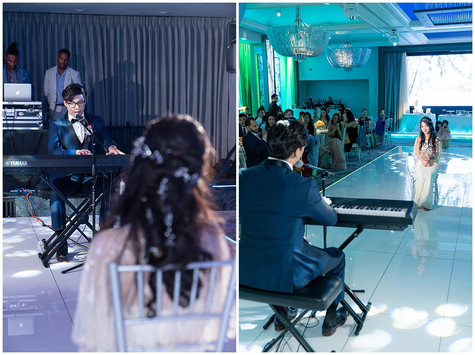 bride and groom performances la banquets legacy ballroom