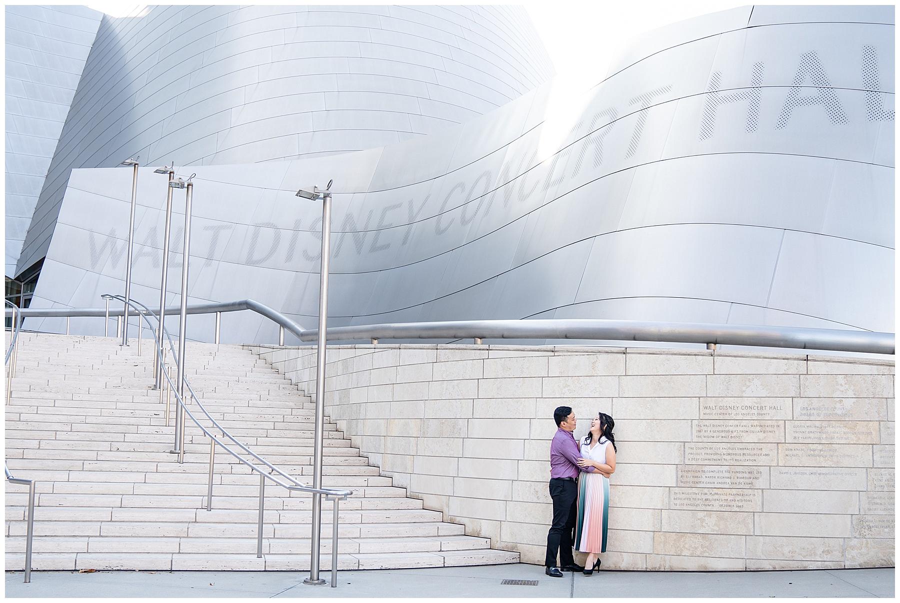 disney concert hall engagement photo