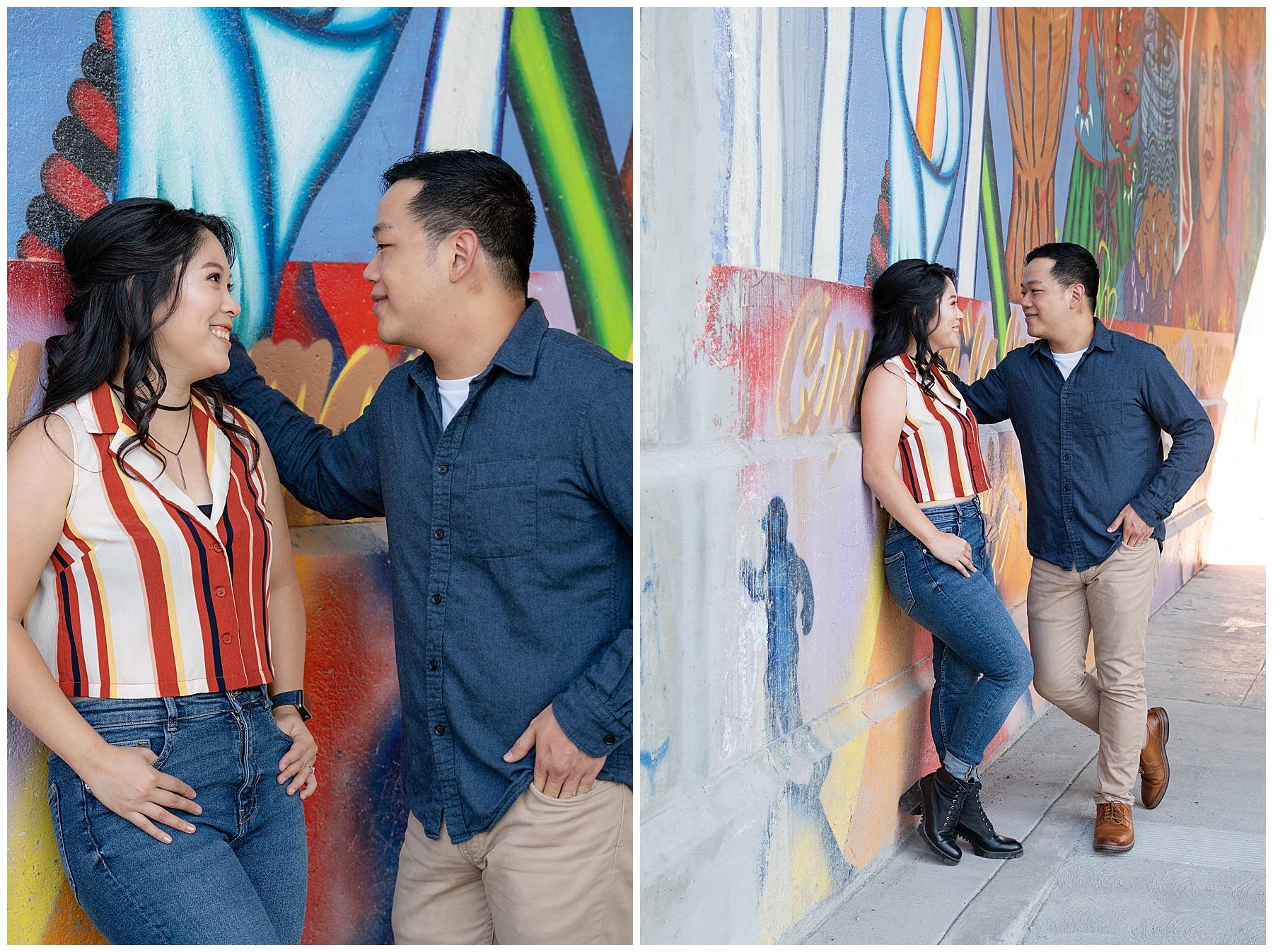 engagement photos graffiti wall