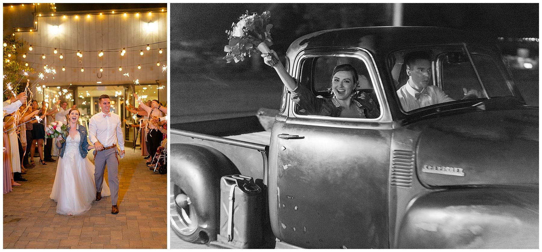 sparkler exit with vintage truck