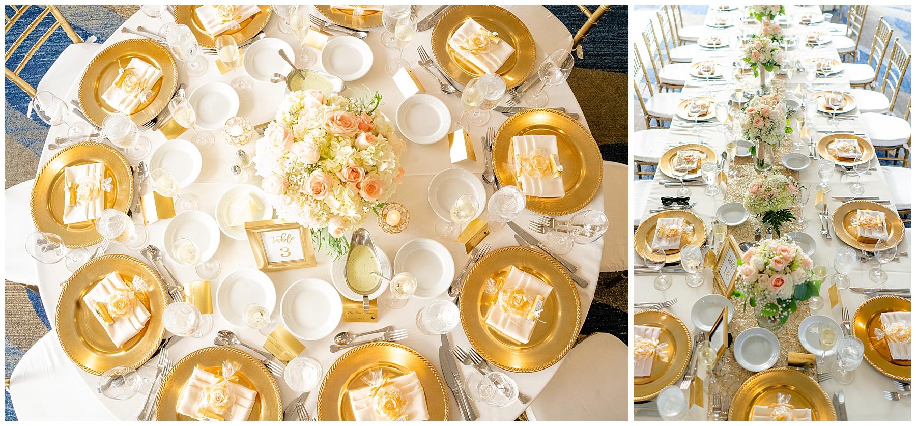 gold table setting wedding