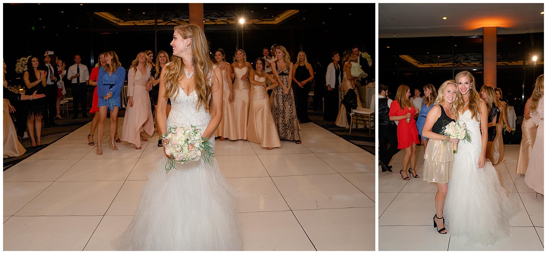 bouquet toss marriott marina del rey wedding