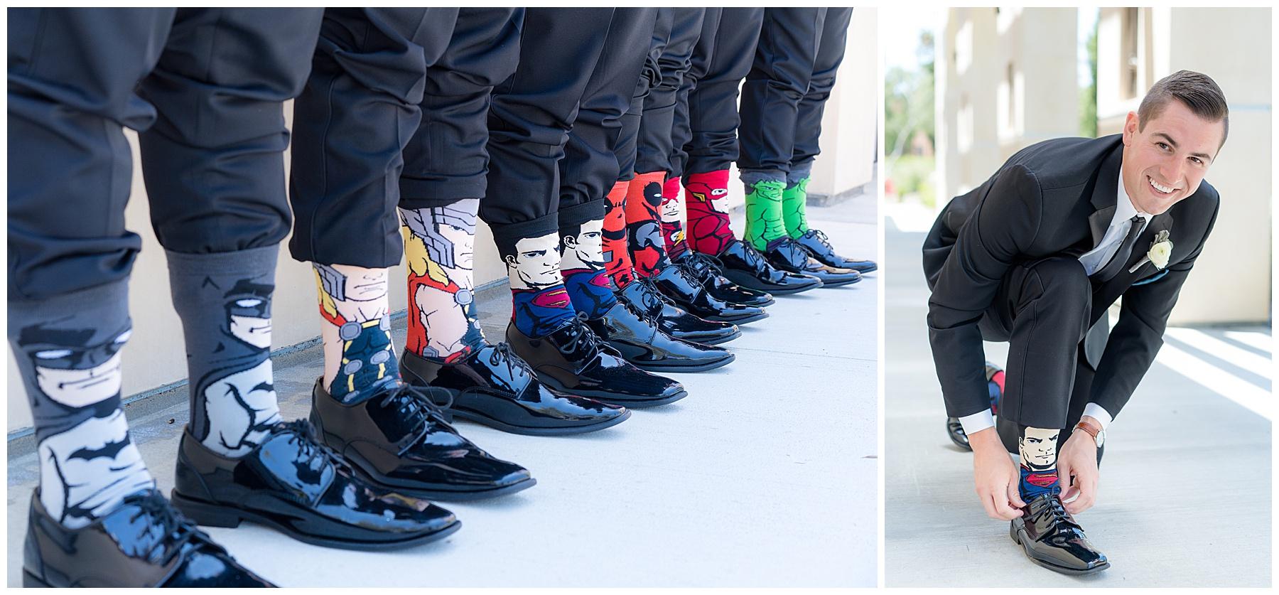 superhero groomsmen socks