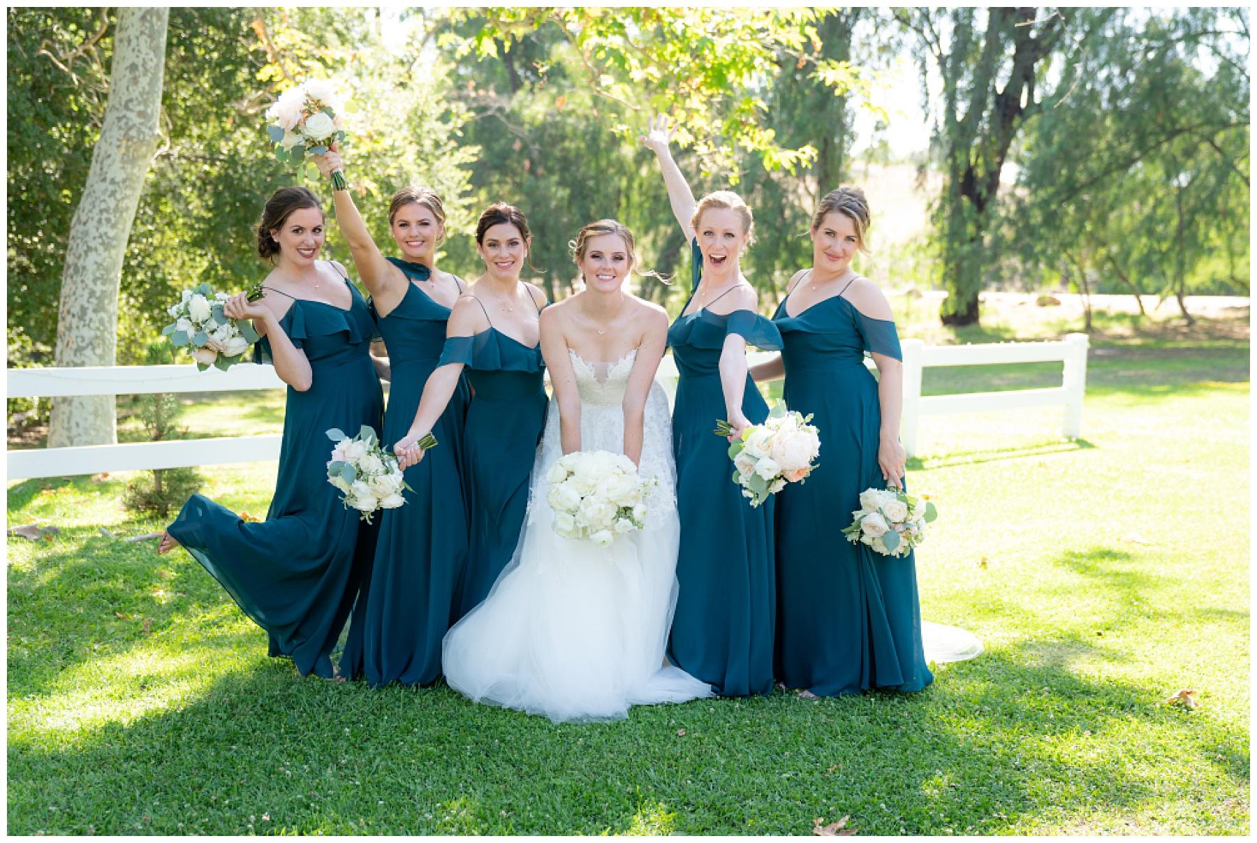 fun bridal party photo teal dress