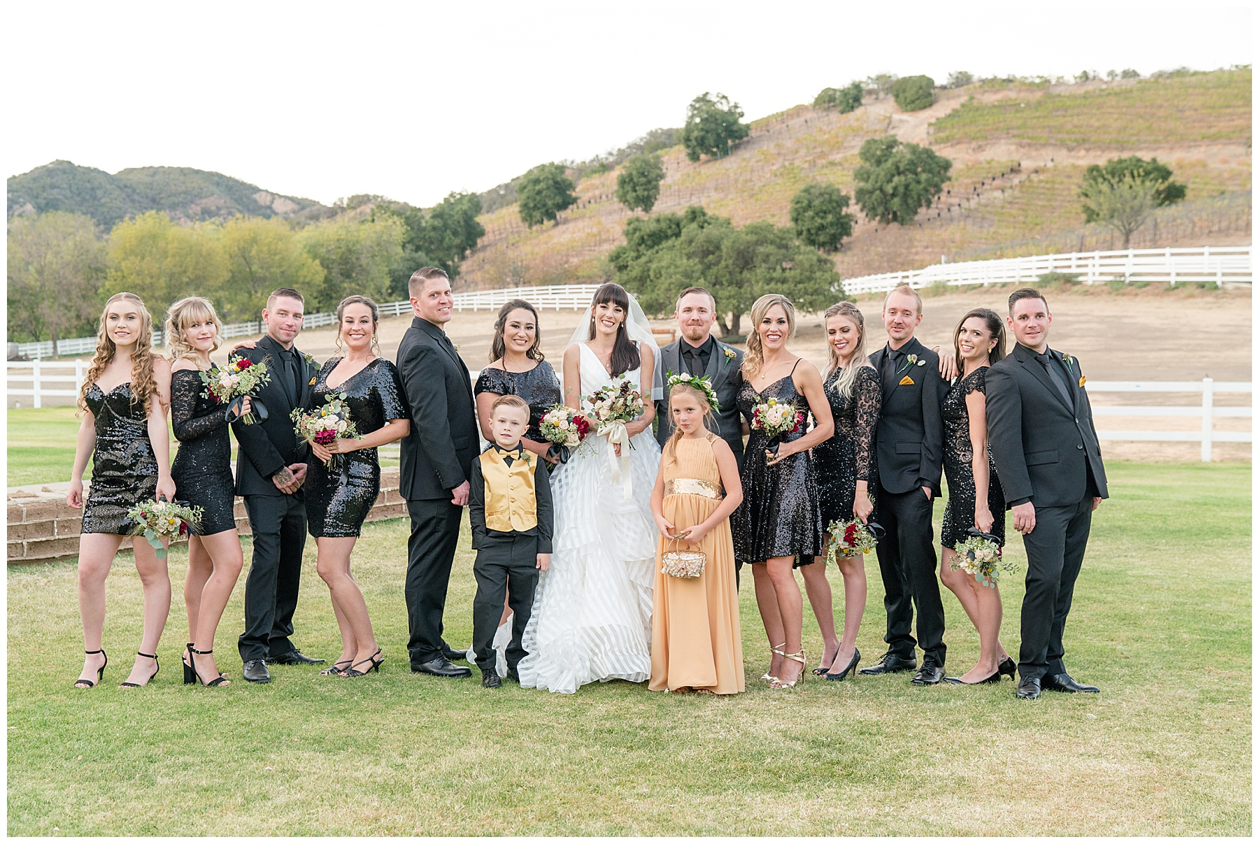 wedding party black and gold