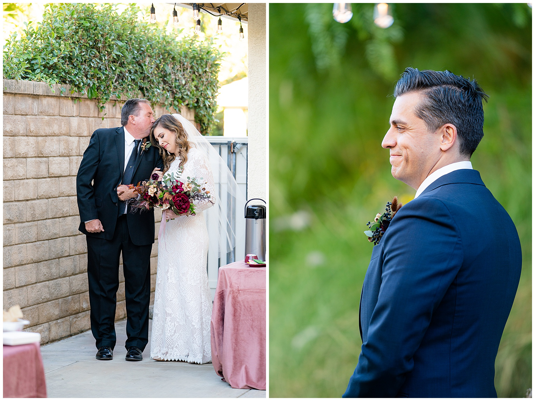 Father walks daughter down the aisle