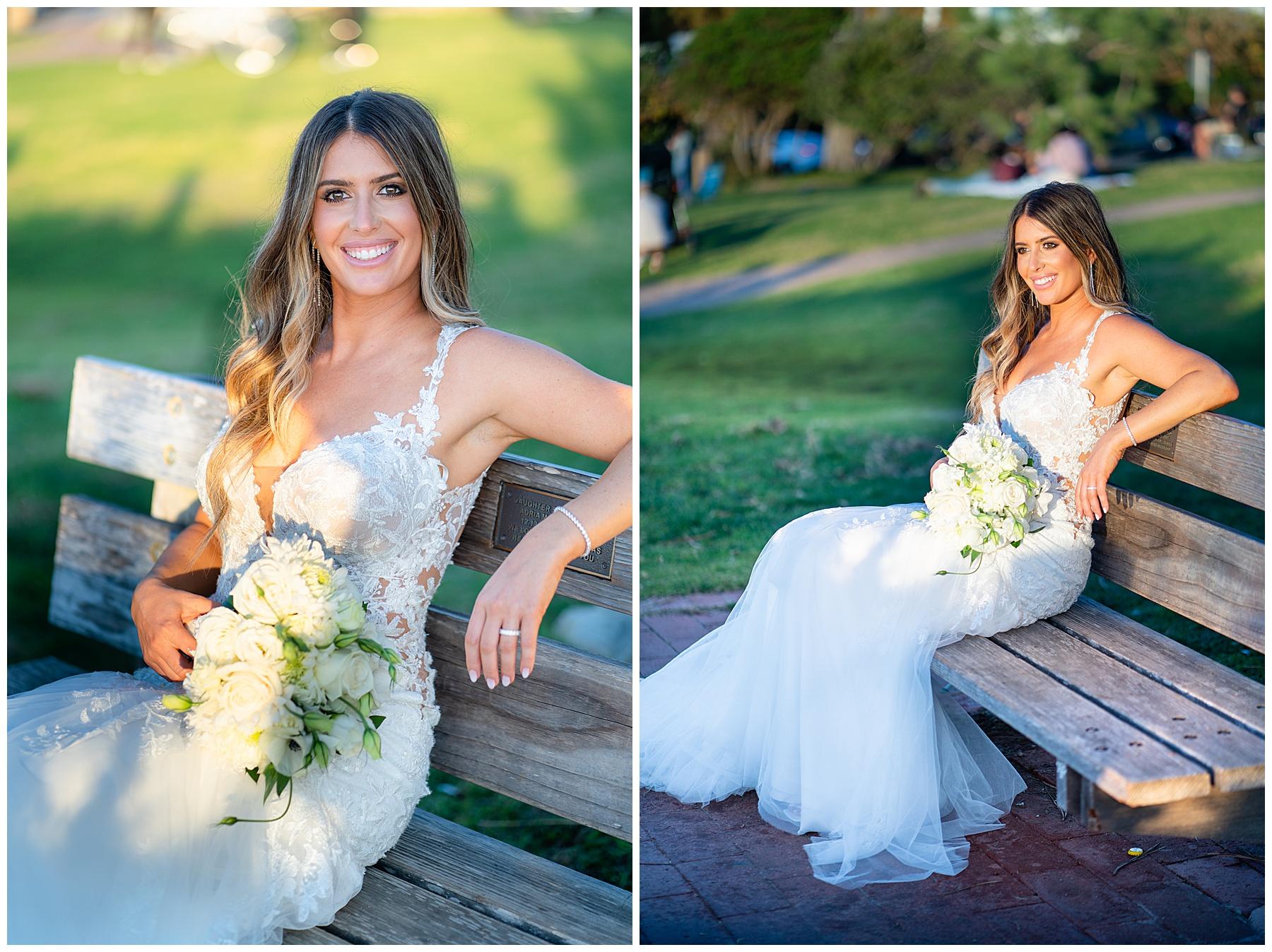 seagrove park del mar wedding bride on bench