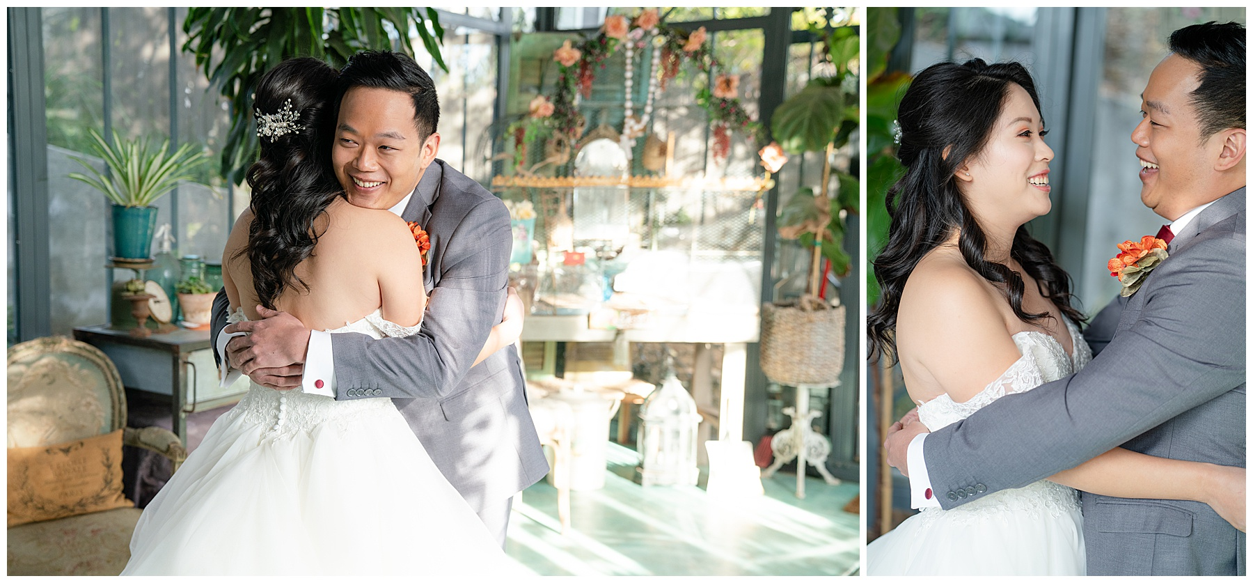 first look lavender marketplace wedding