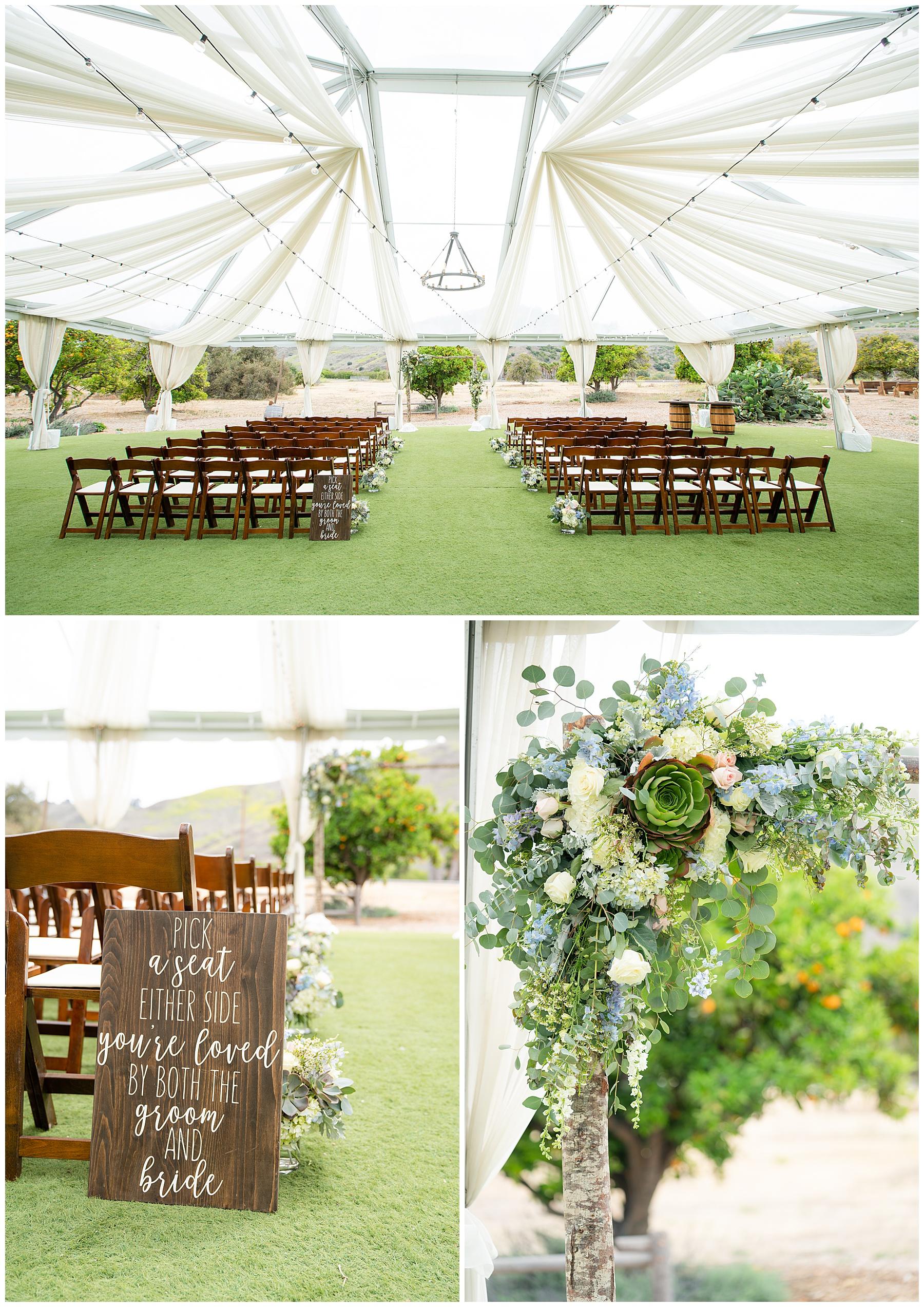 wedding under a clear tent