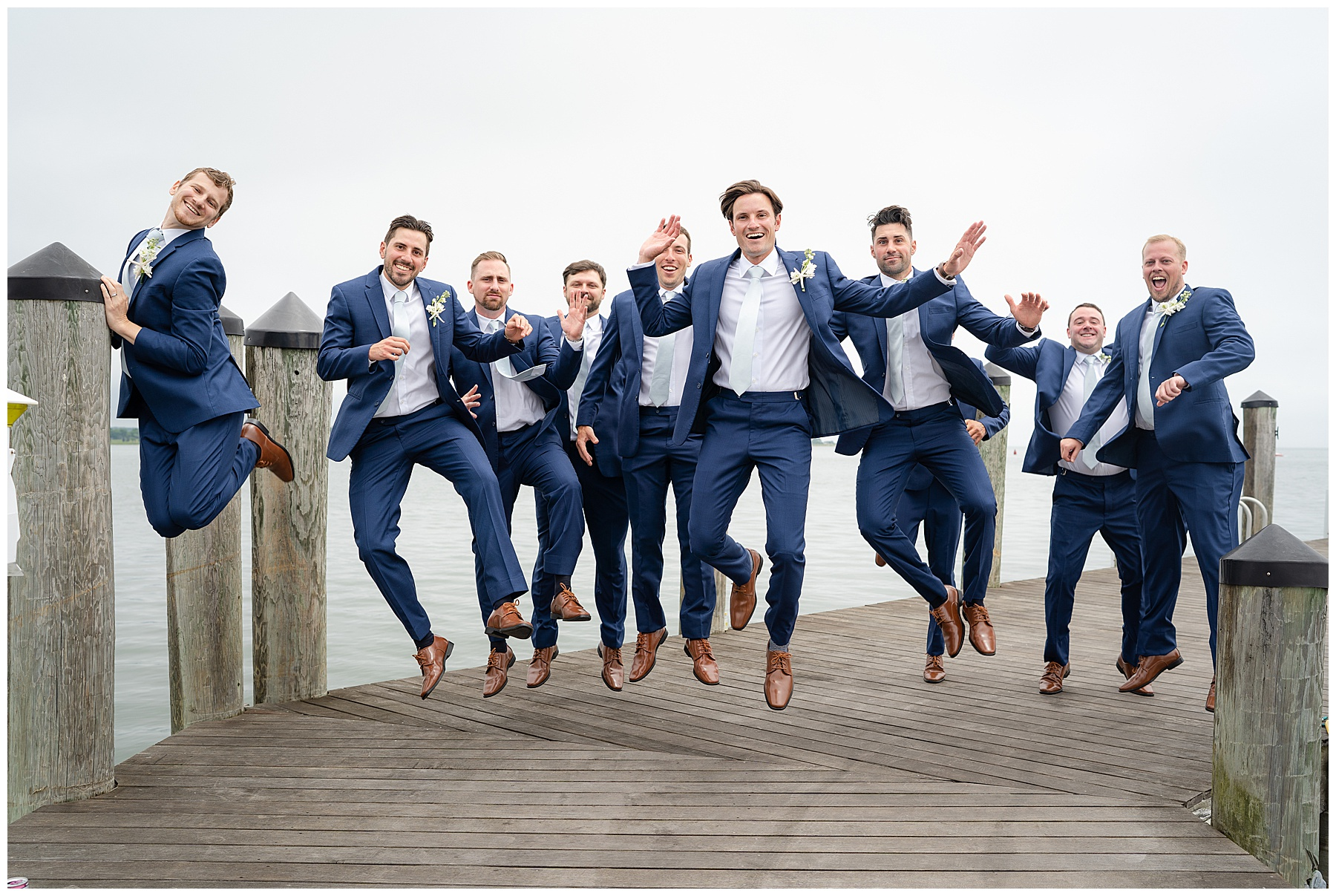 fun groomsmen photo jumping