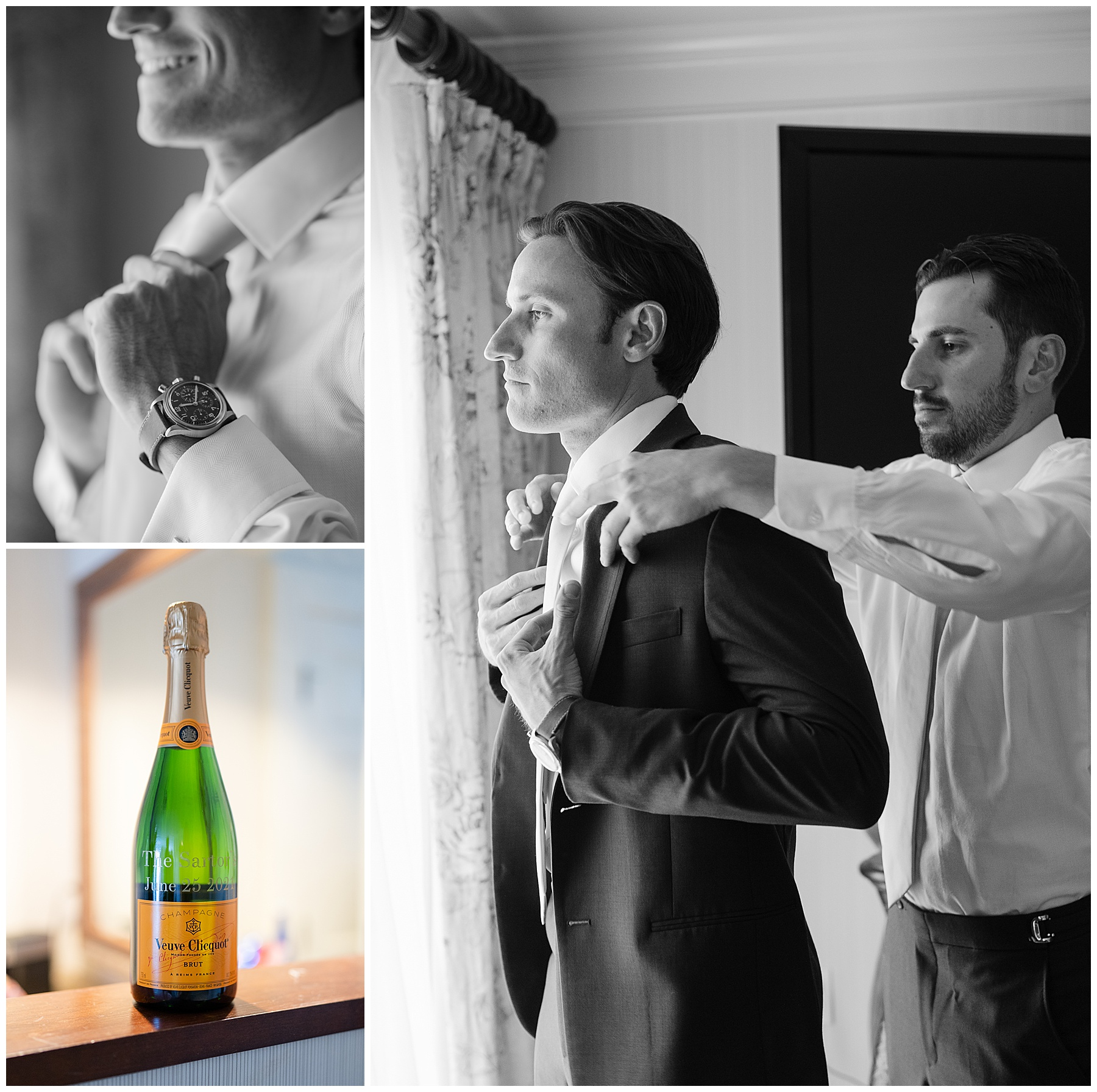 groom getting ready and personalized champagne