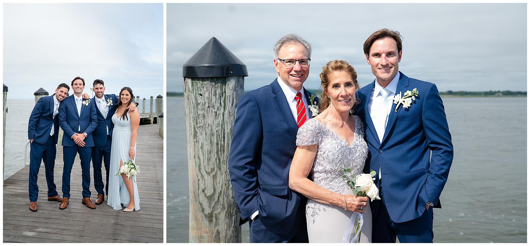 wedding portraits on a dock