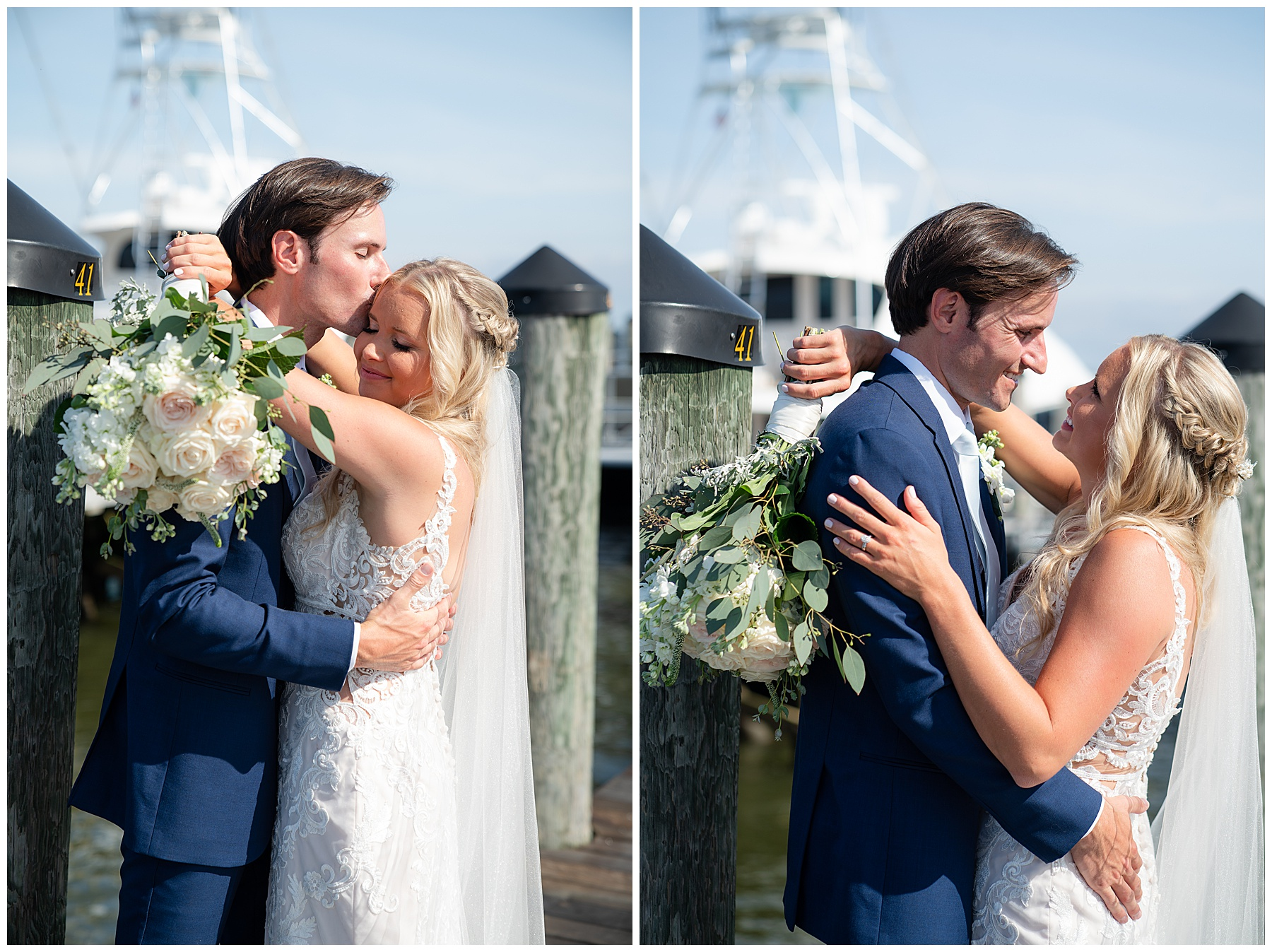 wedding portrait on a dock
