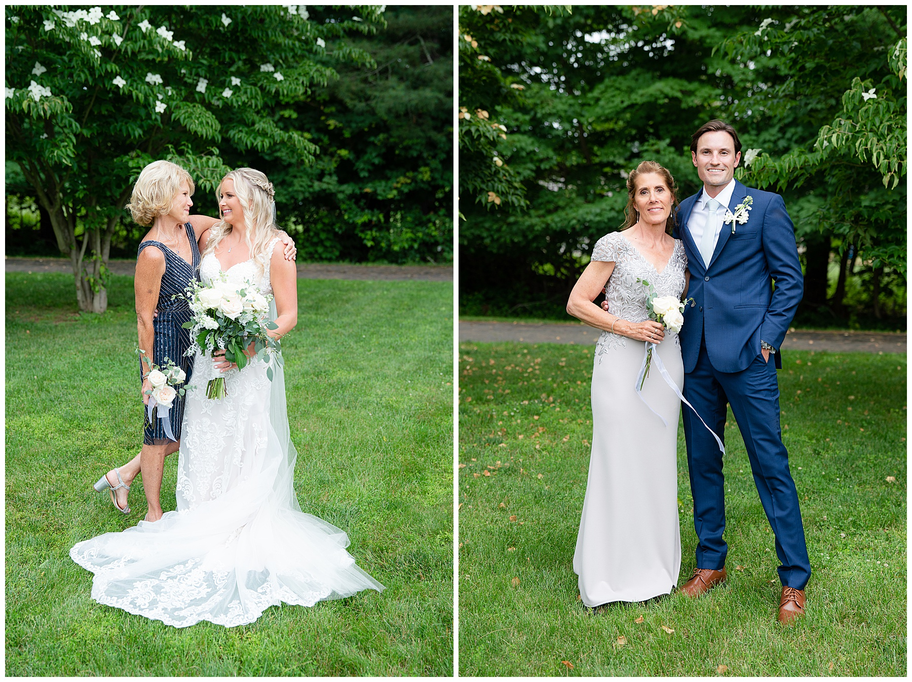 bride and groom with moms