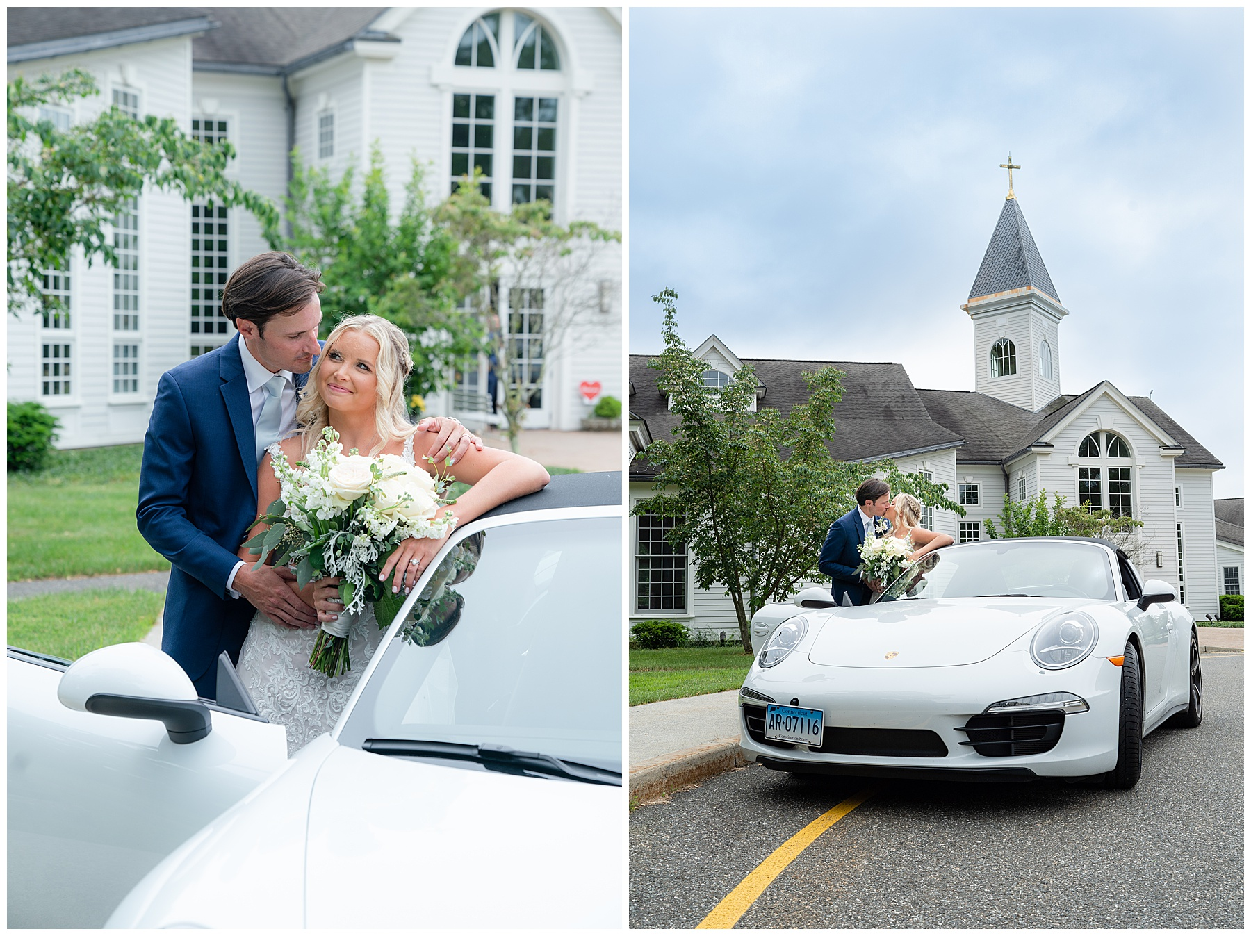 bride and groom exit in sports car
