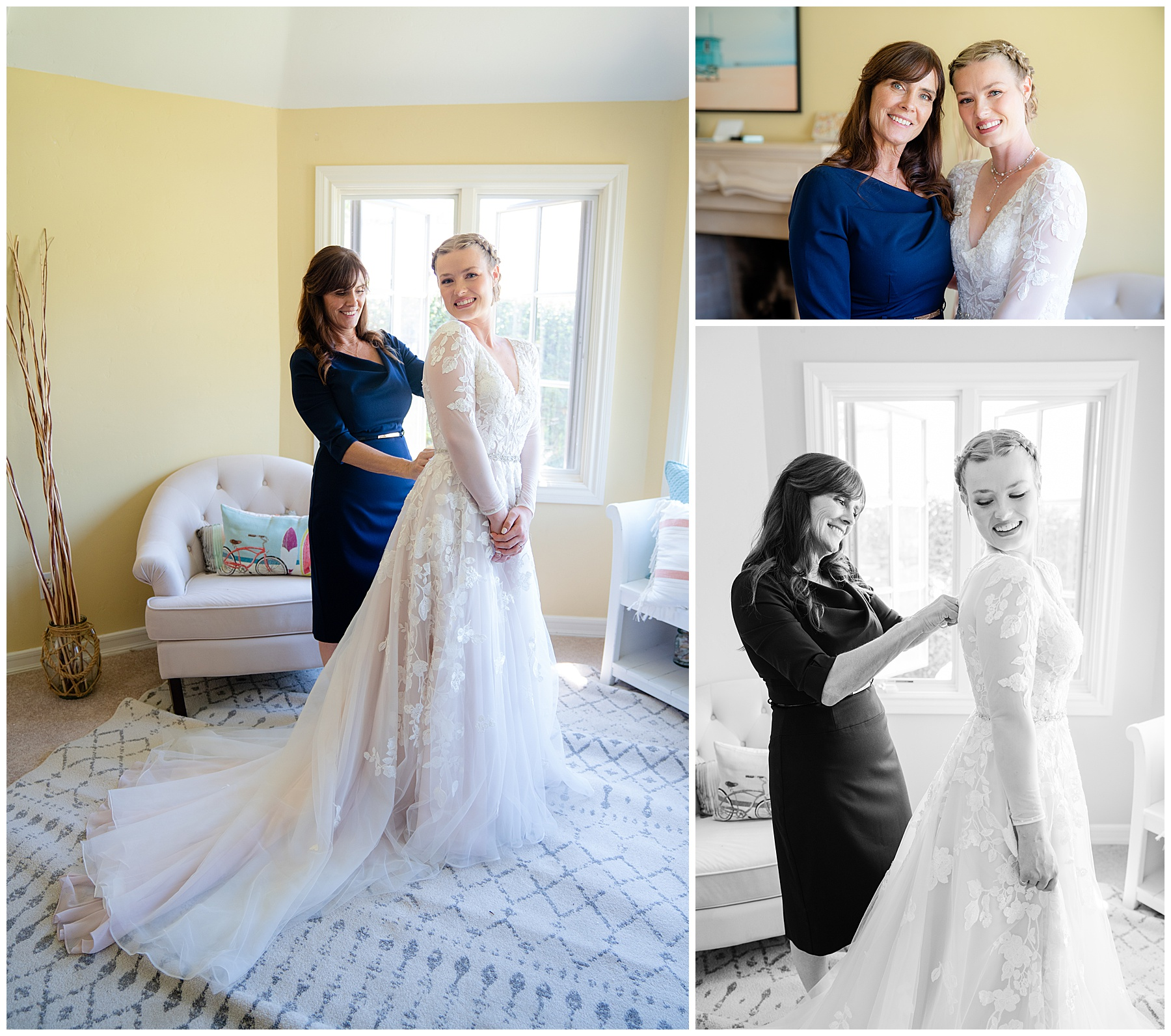 mom and daughter wedding morning
