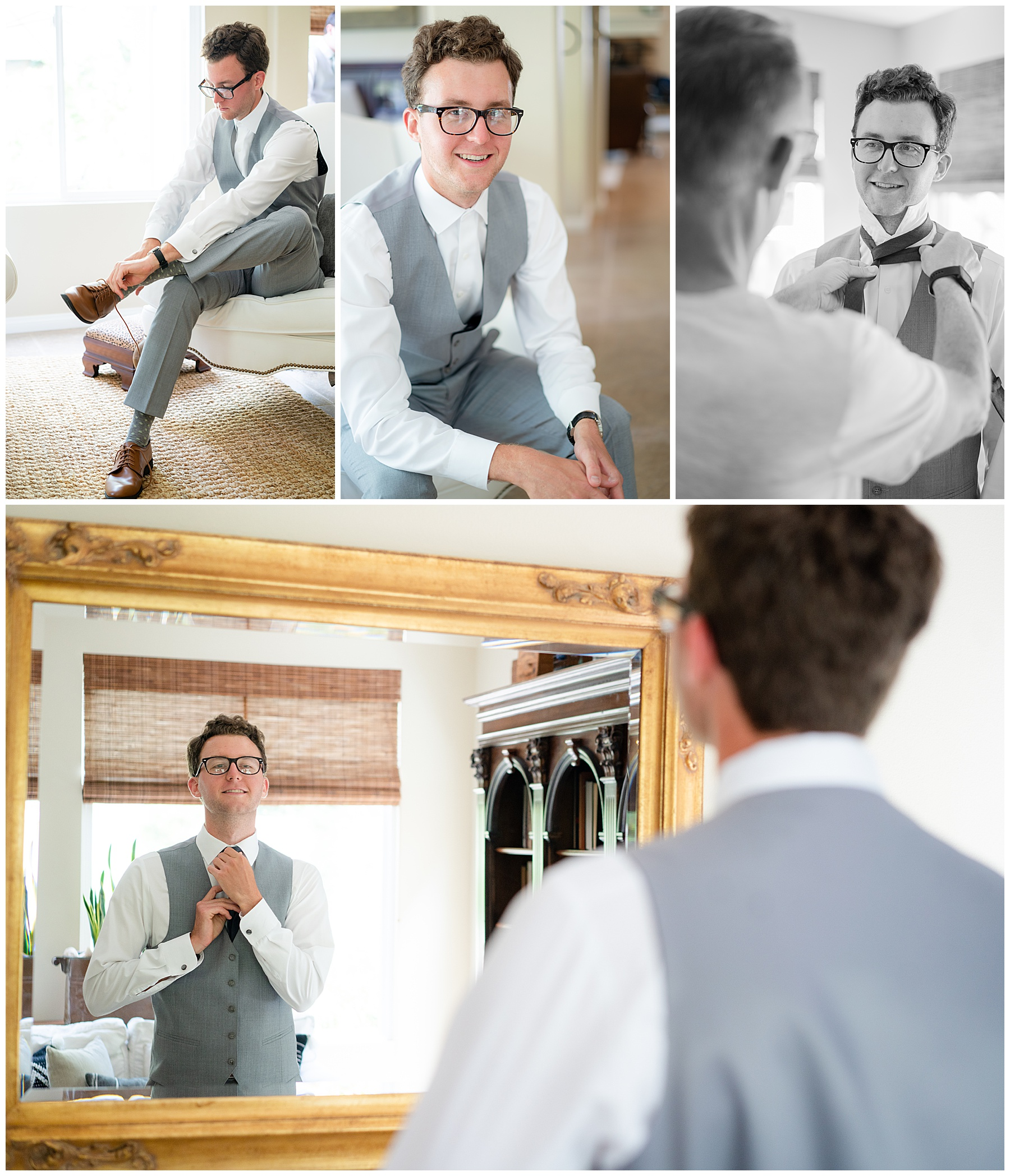 groom getting ready in vest